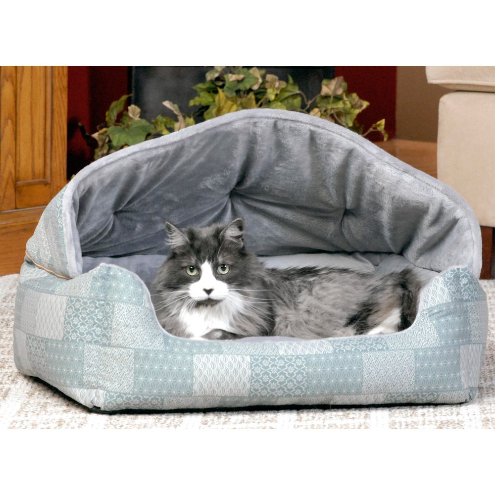 "KandH Pet Products Lounge Sleeper Hooded for Pets size: 25""L x 20""W, Blue, K & H"