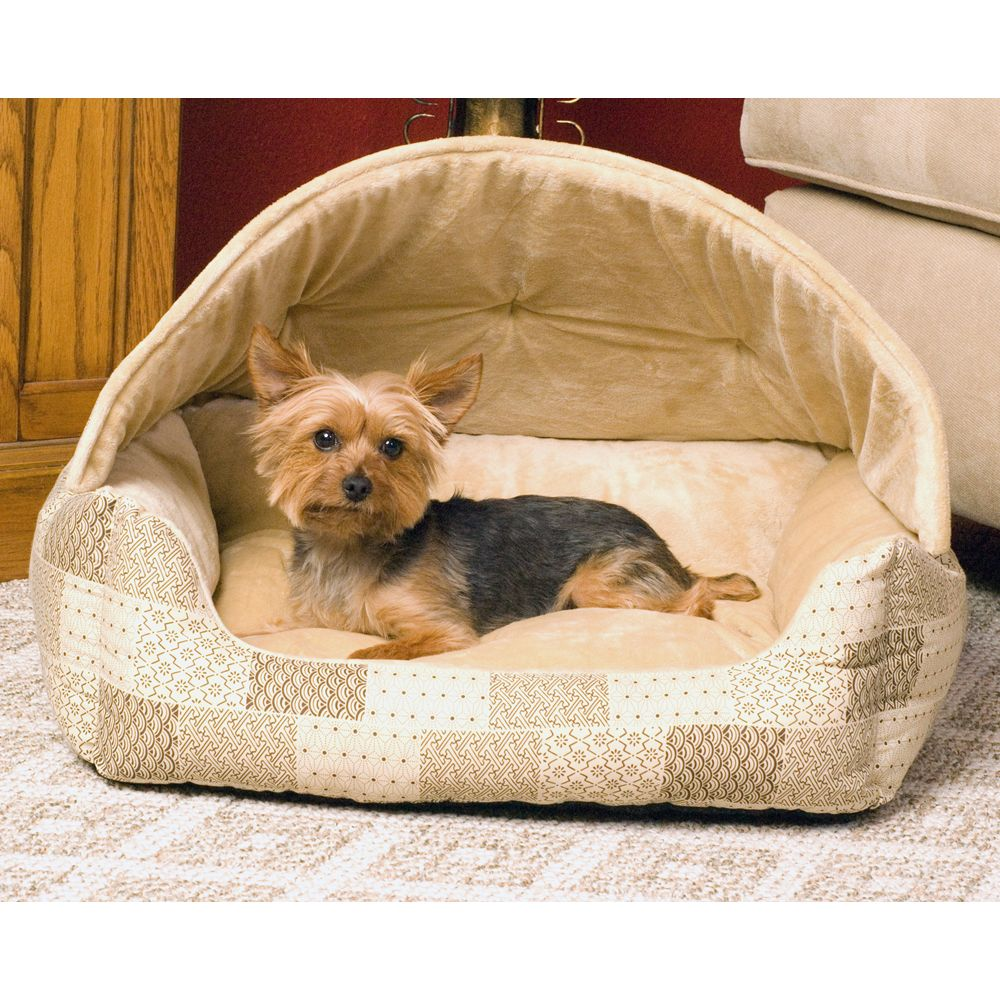 "KandH Pet Products Lounge Sleeper Hooded for Pets size: 25""L x 20""W, Tan, K & H"