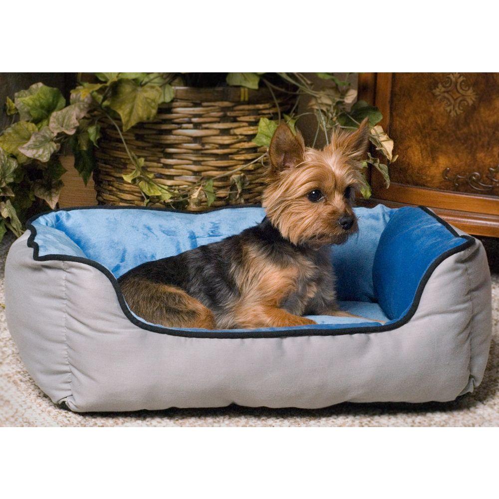 KandH Self-Warming Lounge Sleeper Pet Bed, Blue & Gray, K & H