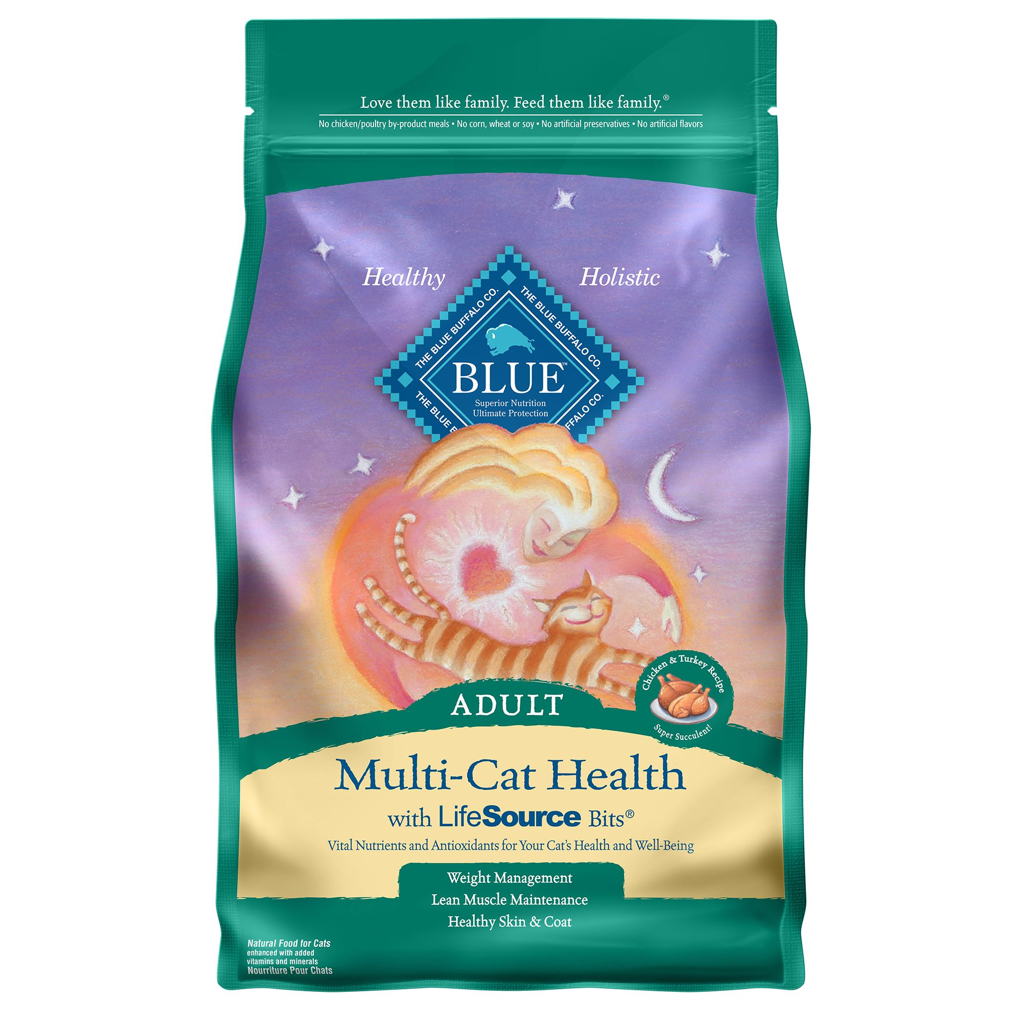 Blue, Multi-Cat Health Chicken and Turkey Adult Cat Food siz