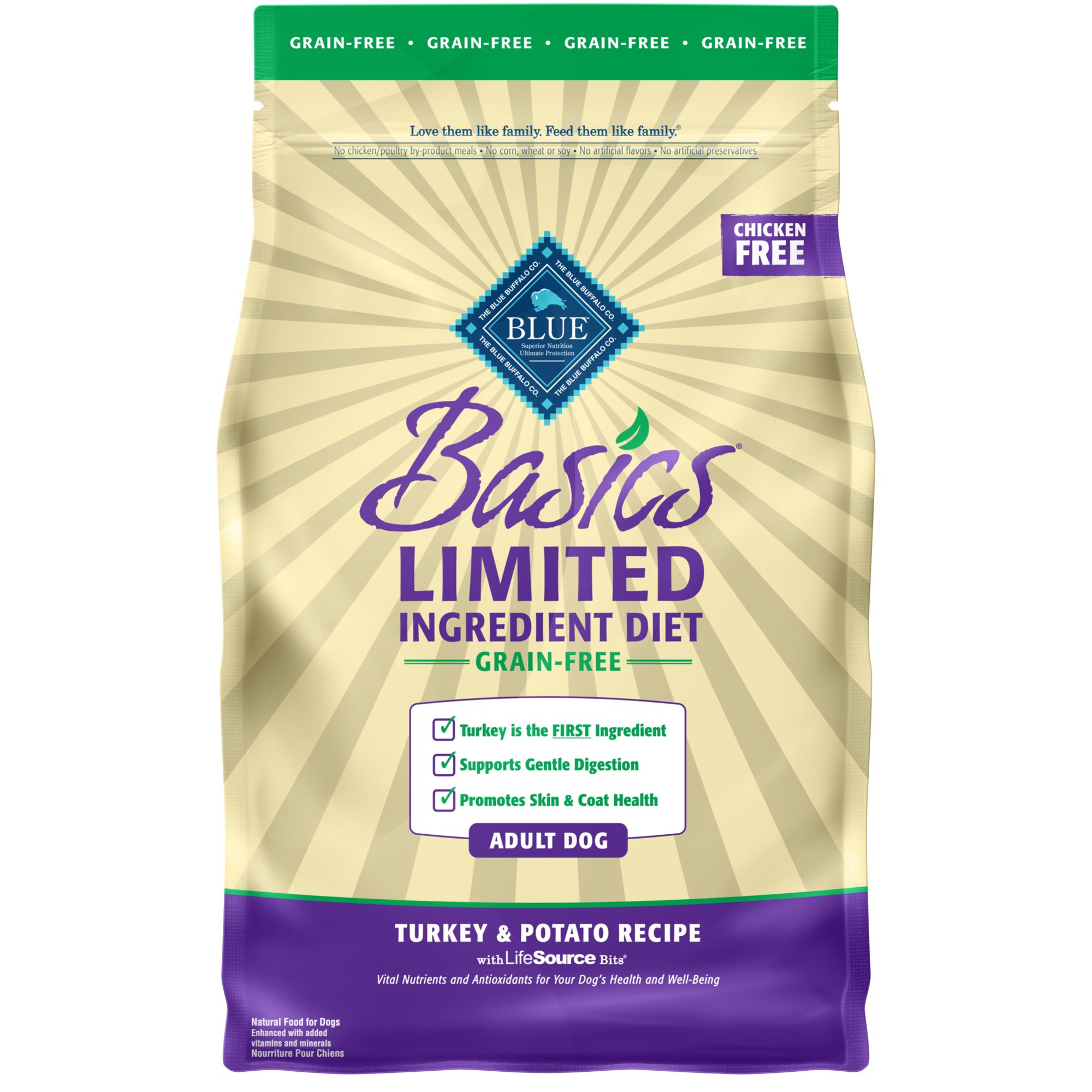 Blue Basics Adult Dog Food Limited Ingredient Grain Free Turkey And Potato Size 4 Lb Blue Buffalo