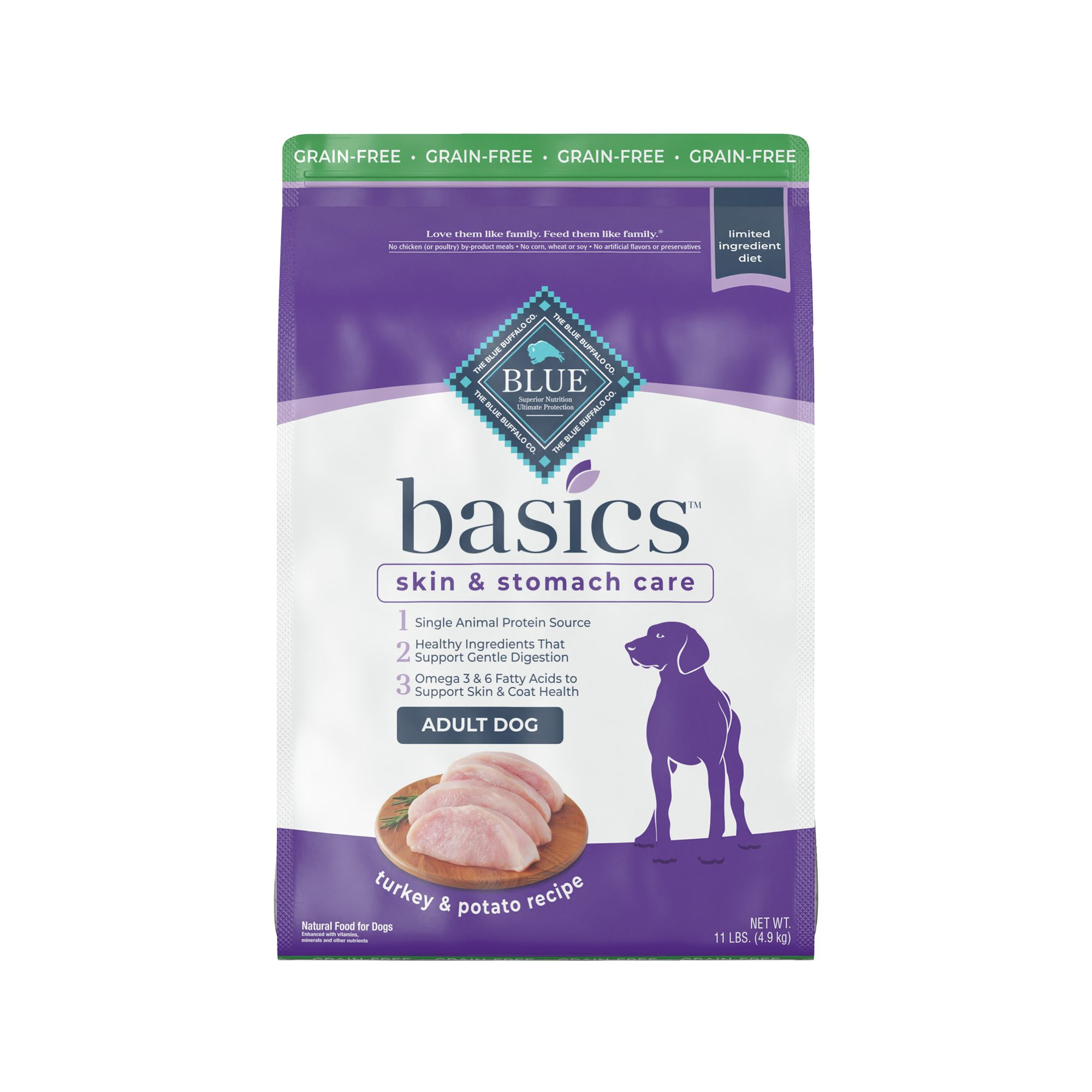 Gloomy Basics Adult Dog Food - Limited Ingredient, Grain Free, Turkey and Potato size: 11 Lb, Blue Buffalo