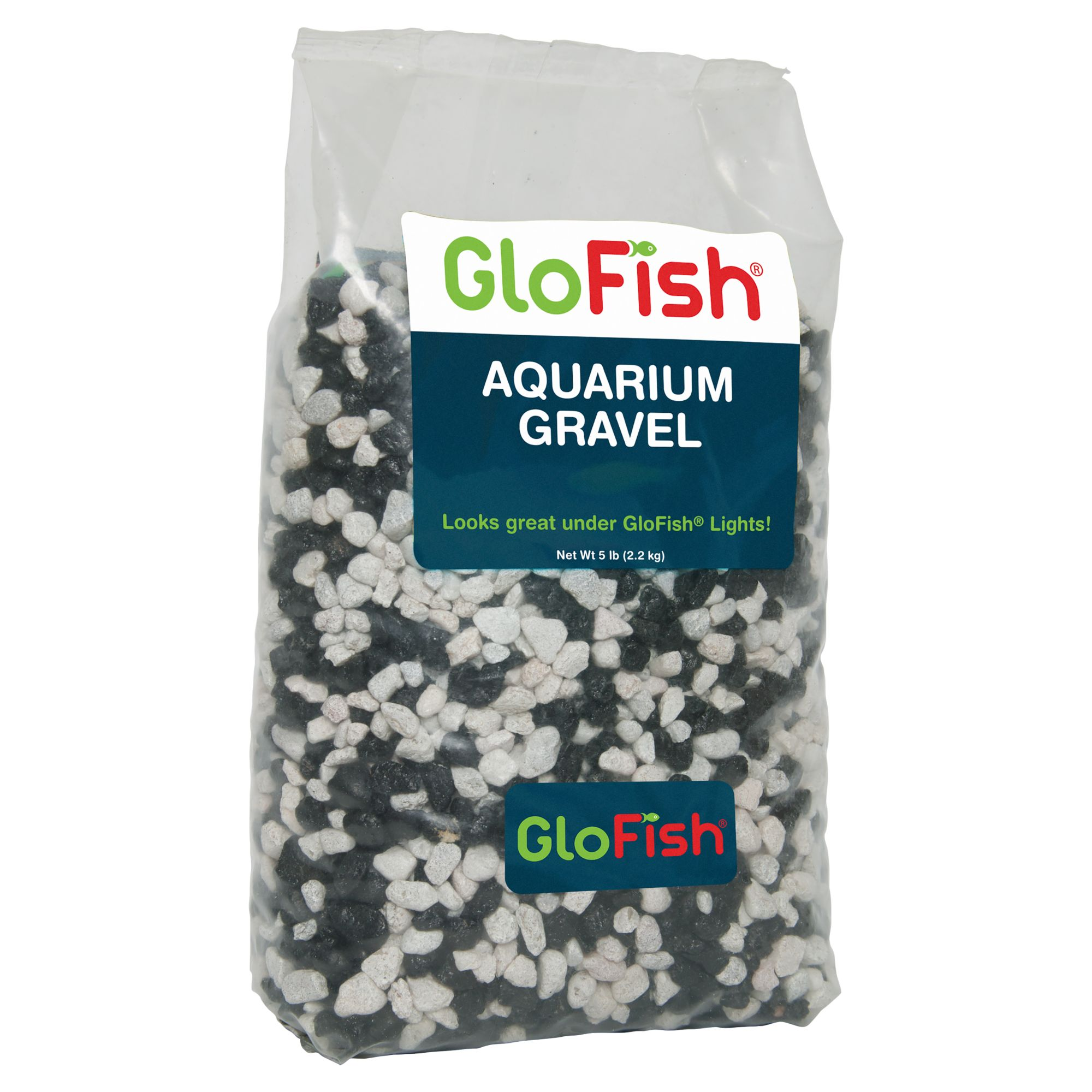 Glofish Aquarium Gravel Size 5 Lb White Black