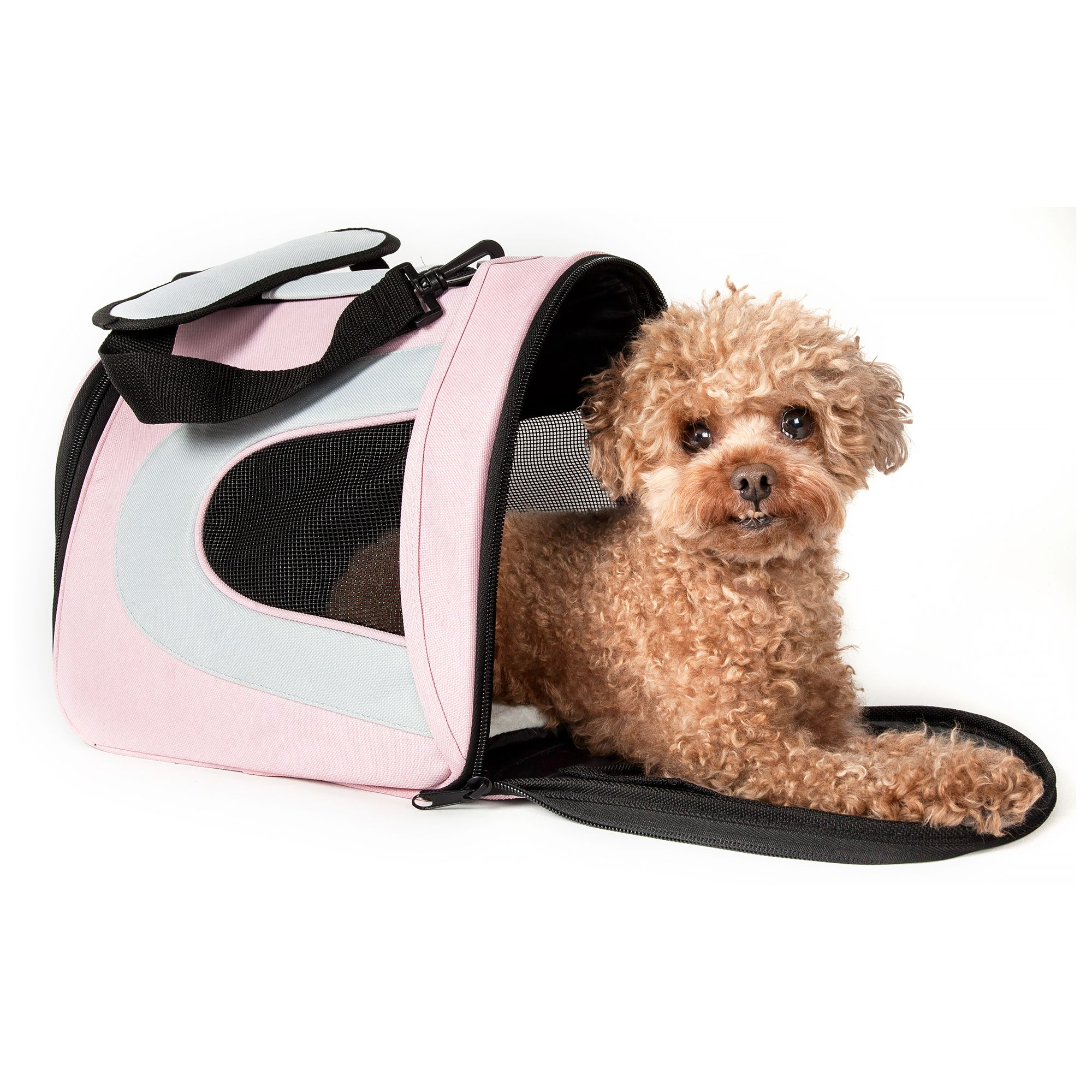 Pet Life Airline Approved Folding Sporty Mesh Pet Carrier Size 16.9l X 10.2w X 9.8h Pink