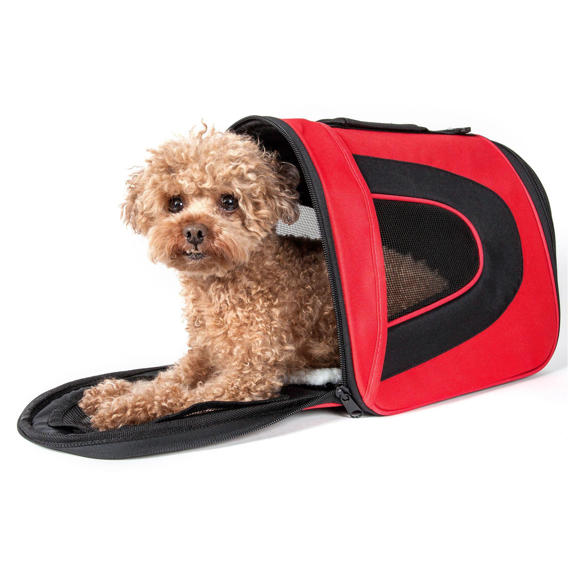 Pet Life Airline Approved Folding Sporty Mesh Pet Carrier Size 16.9l X 10.2w X 9.8h Red