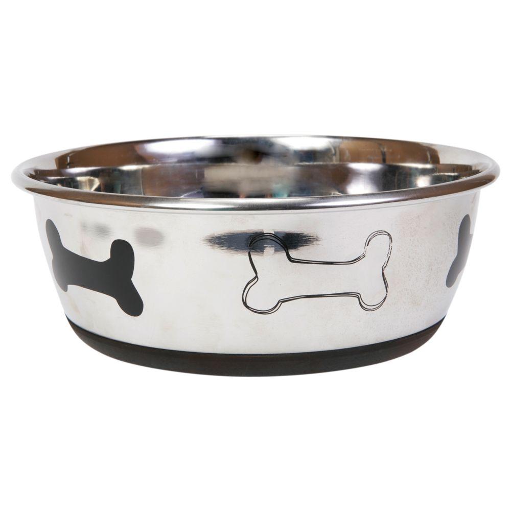 Top Paw Bone Dog Bowl Size 2 Qt Silver