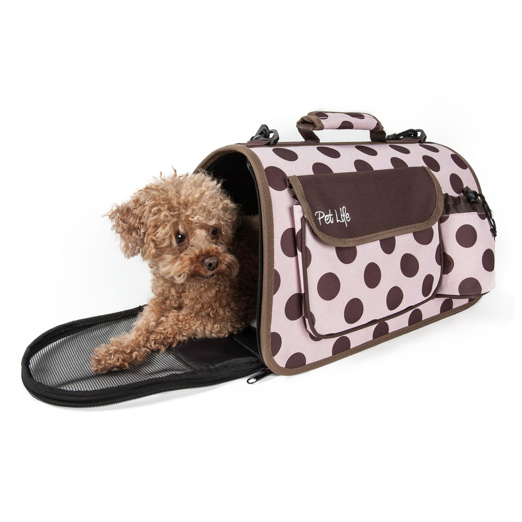 Pet Life Airline Approved Casual Pet Carrier Size 16.9l X 10.2w X 9.8h Pink Brown