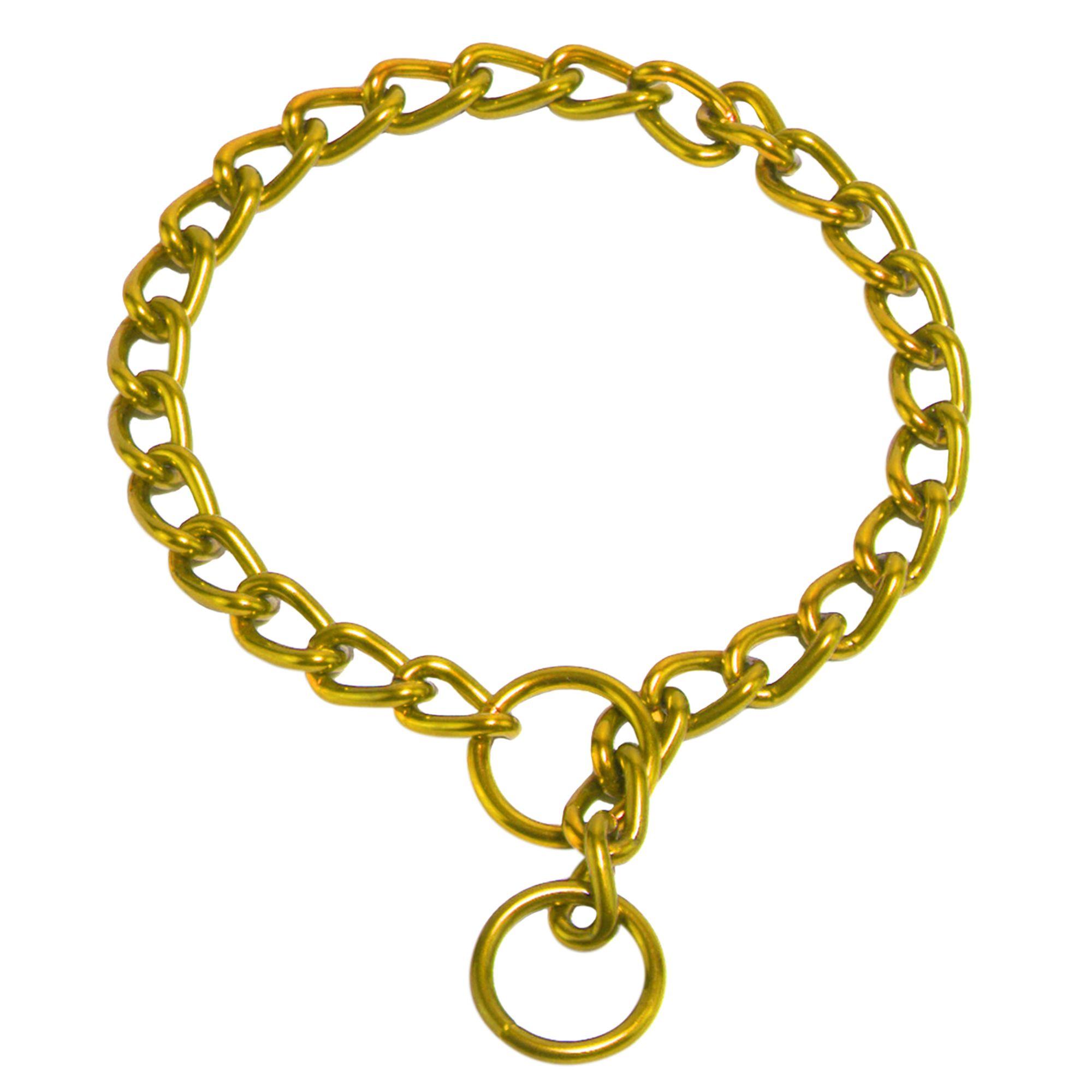 Platinum Pets Chain Training Dog Collar Size 14l X 2mmw 24 Karat Gold
