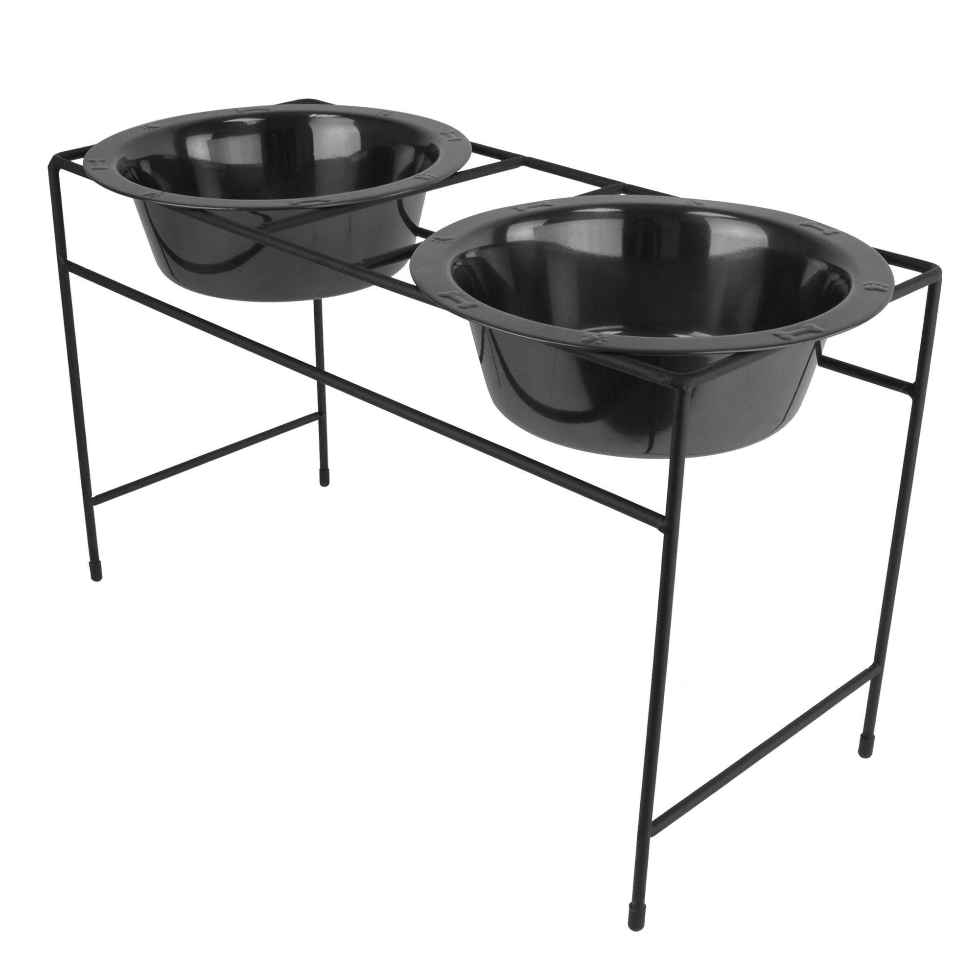 Platinum Pets Double Diner Dog Stand With Bowls Size 6.5l X 15w X 8.5h Black Chrome
