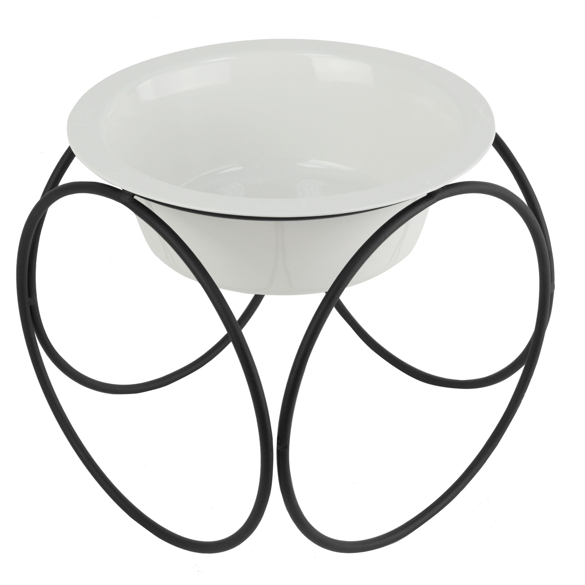 Platinum Pets Olympic Diner Stand Dog Bowl Size 9l X 9w X 8.5h Pearl White