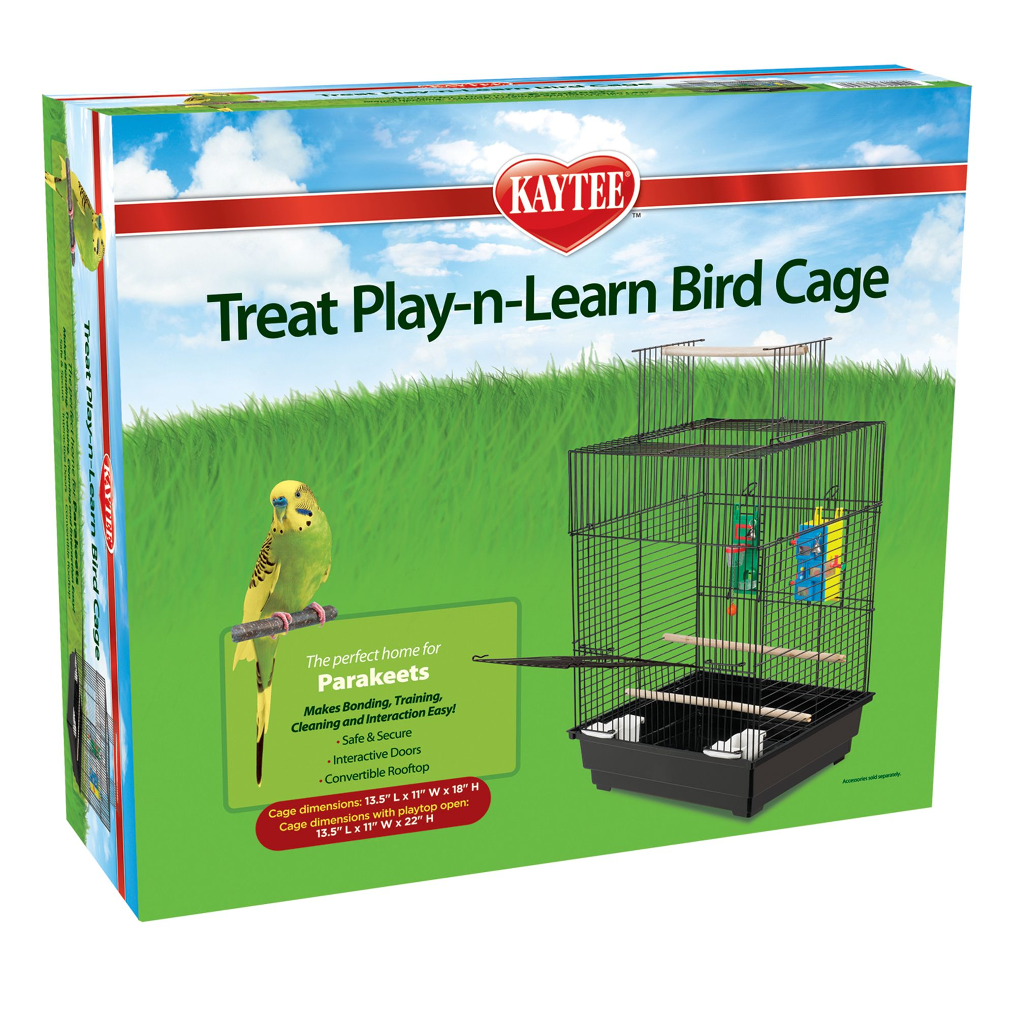 "Kaytee Treat Play-n-Learn Parakeet Cage size: 5.75""L x 20.5""W x 16.5""H, Super Pet 5180251"