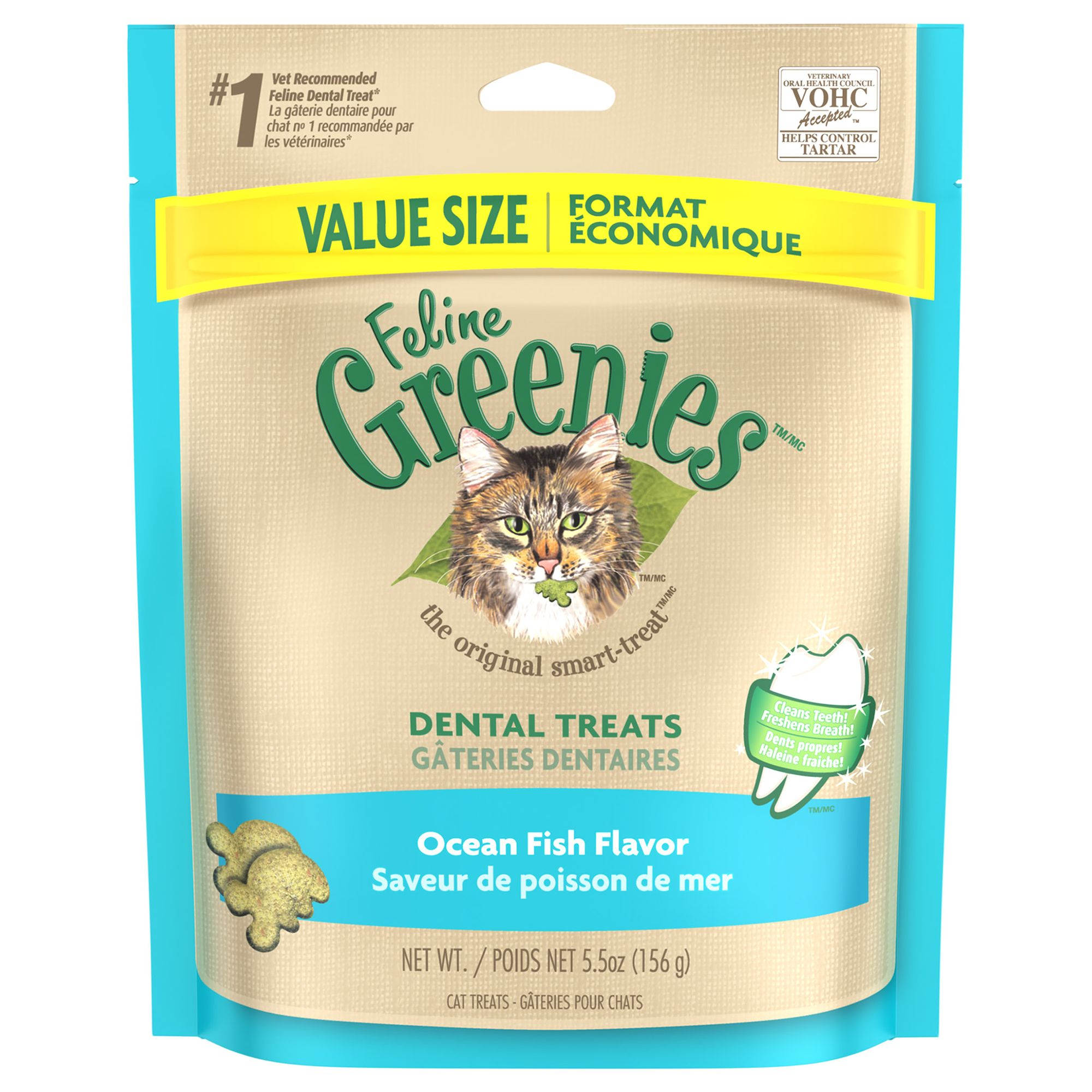 Feline Greenies Dental Cat Treat Ocean Fish Size 5.5 Oz