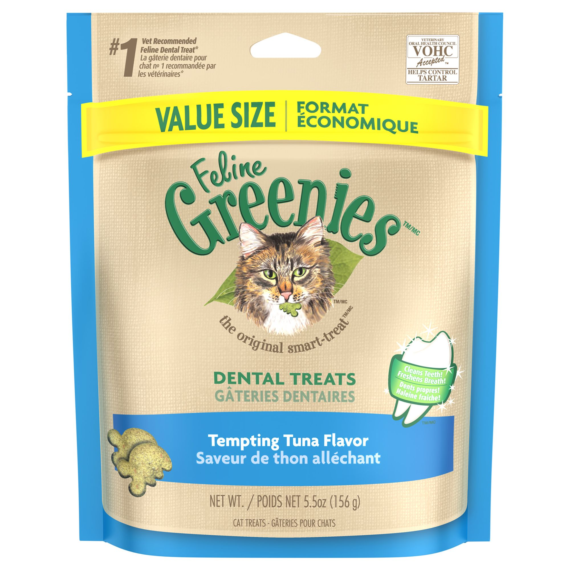 Feline Greenies Dental Cat Treat - Tempting Tuna size: 5.5 Oz, Adult 1-10 yrs, Chicken Meal
