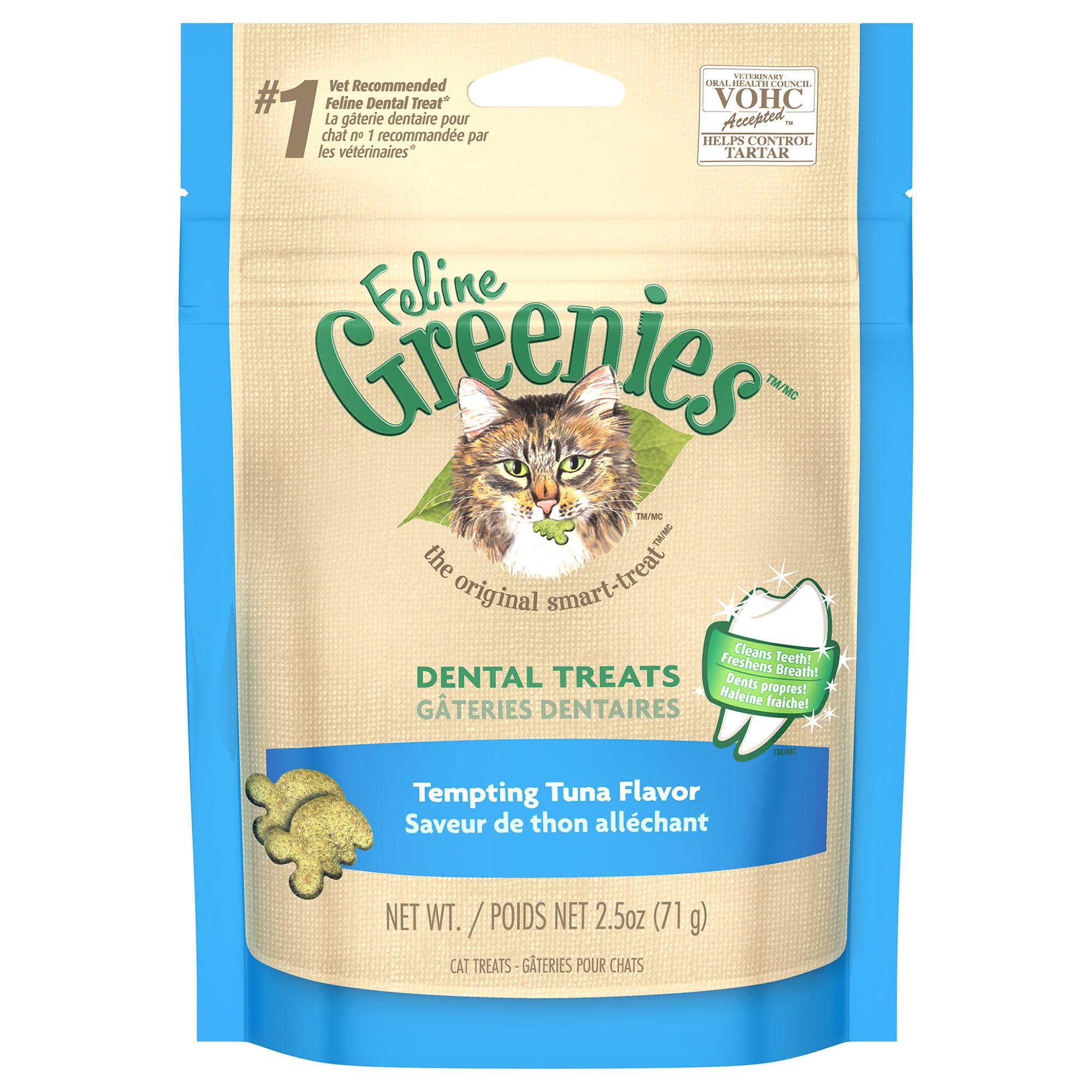 Feline Greenies Dental Cat Treat Tempting Tuna Size 2.5 Oz