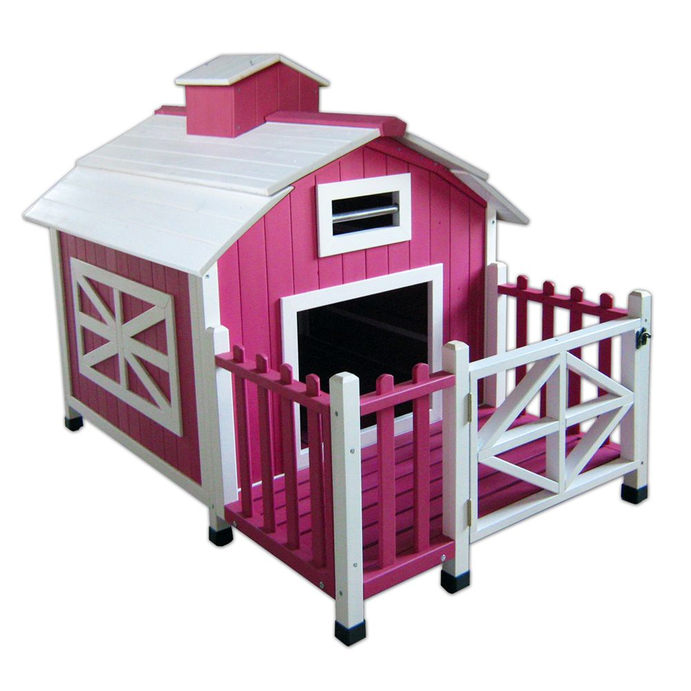 Advantek Country Barn Dog House Size 53.2l X 55.6w X 47.9h Pink