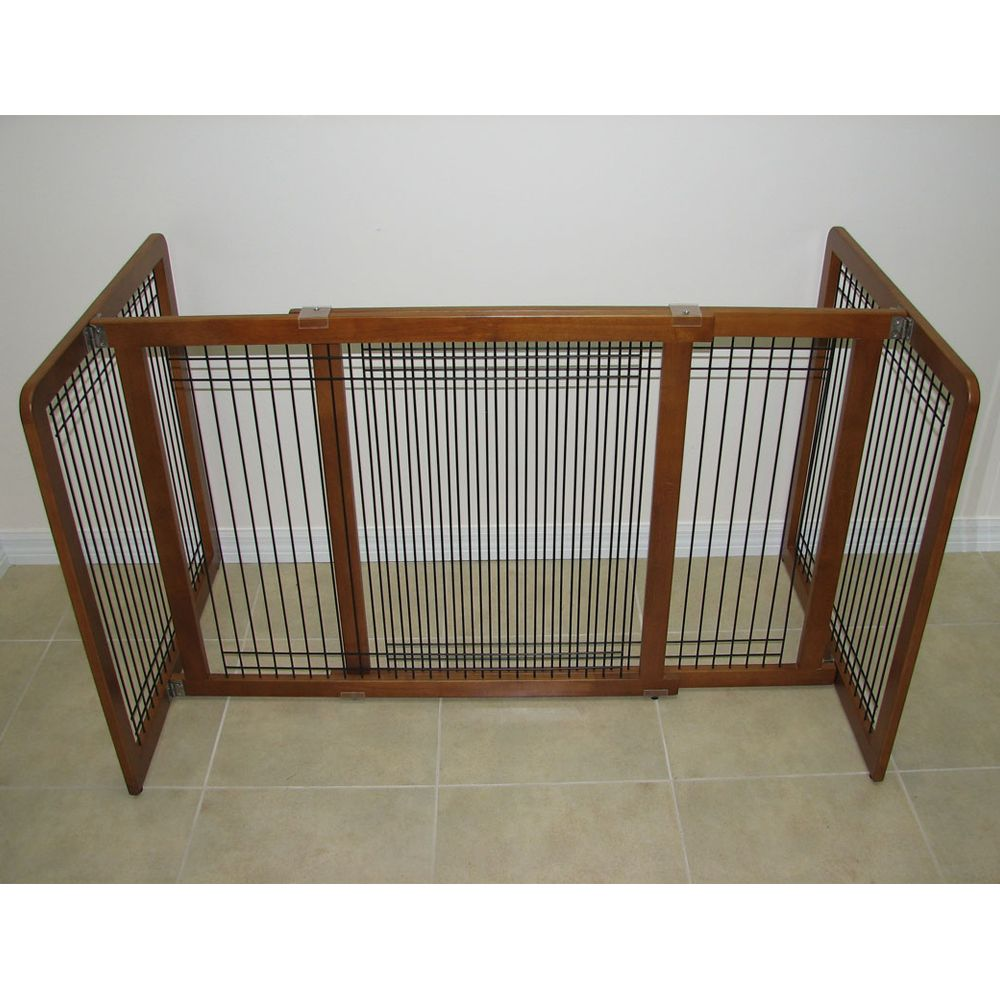 Crown Pet Products Wood And Wire Freestanding Pet Gate Size 40w X 21h Brown