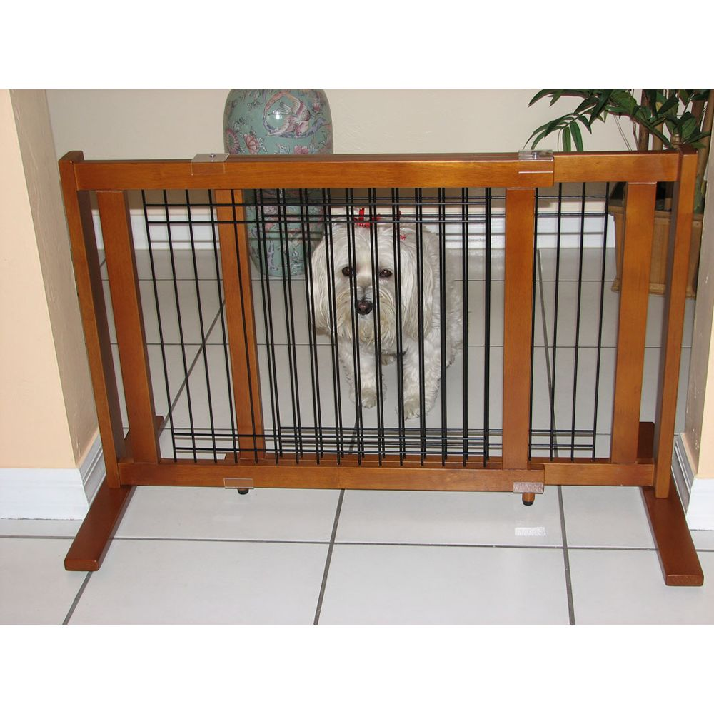 Crown Pet Products Wood And Wire Freestanding Pet Gate Size 27w X 21h Brown