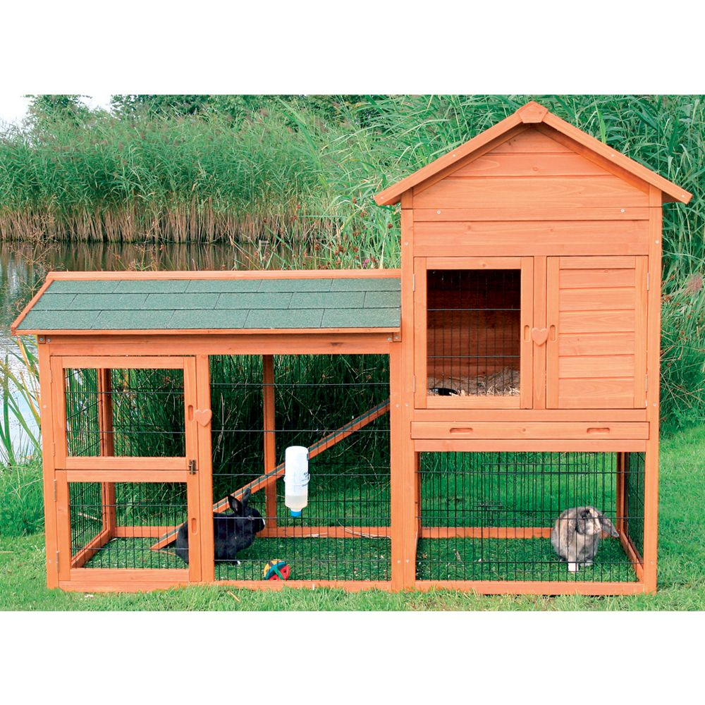 Trixie 2 Story Rabbit Hutch And Outdoor Run Glazed Pine
