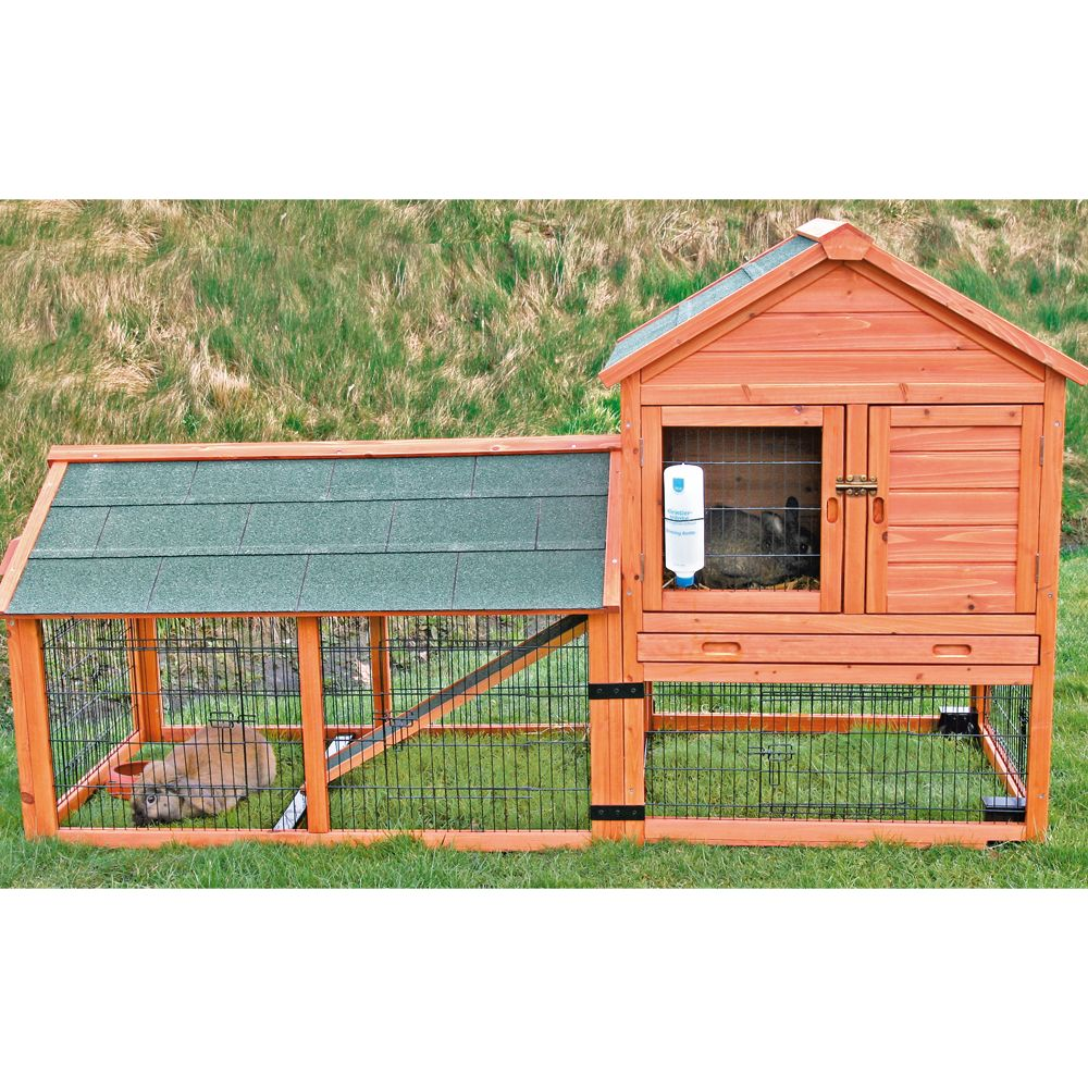 Trixie 2 Story Rabbit Hutch With Wheels And Outdoor Run Glazed Pine