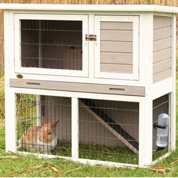 Trixie 2 Story Sloped Roof Rabbit Hutch Gray White