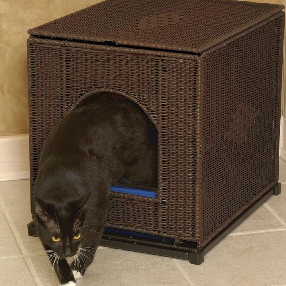 Mr. Herzhers Cat Litter Box Cover Size 16w X 20d X 19h Brown Mr. Herzhers