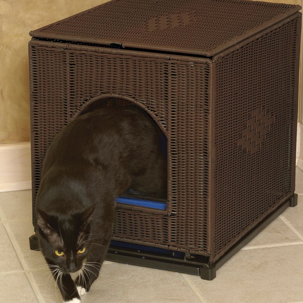 Mr. Herzhers Cat Litter Box Cover Size 23.5l X 18w X 20h Brown Mr. Herzhers