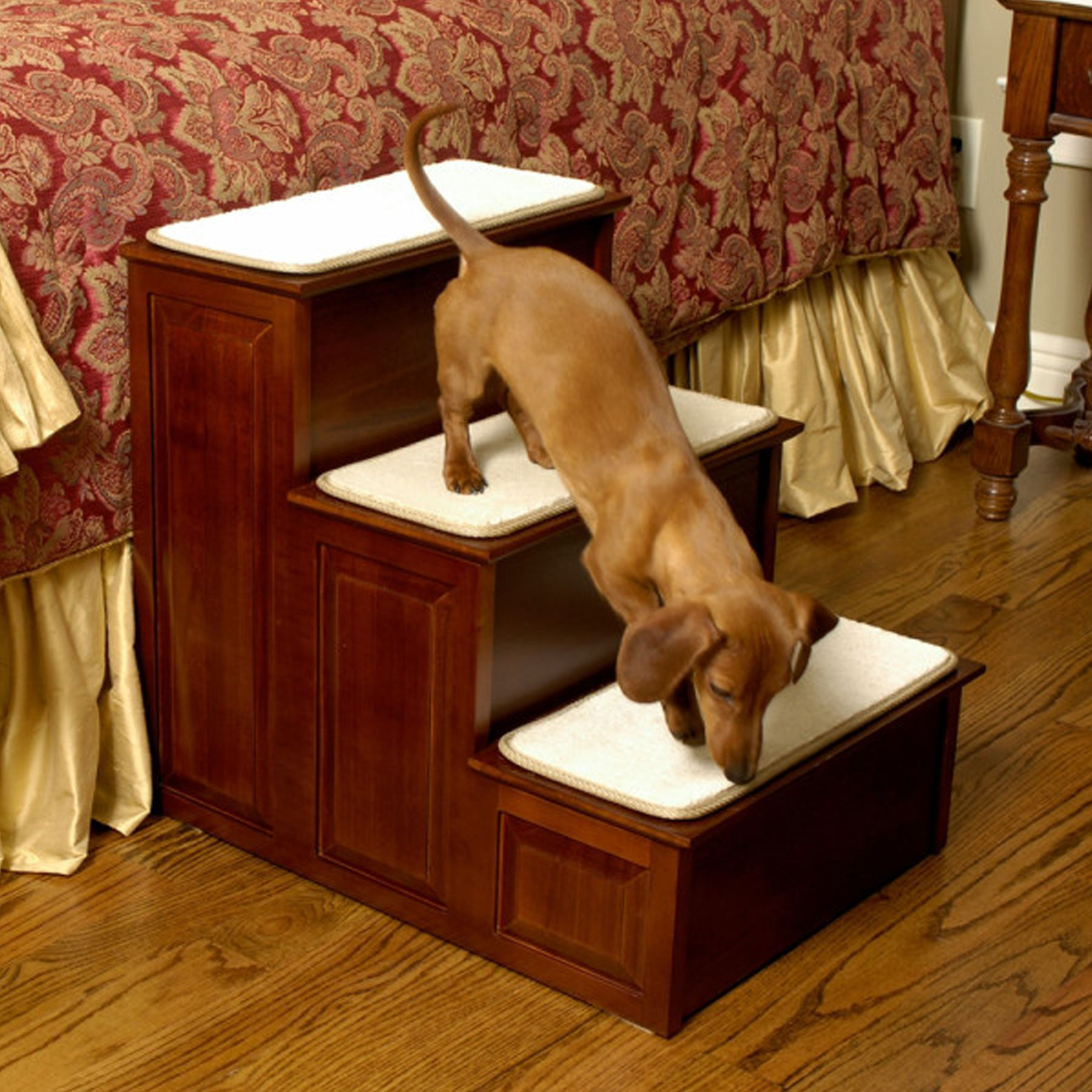 Mr. Herzhers Decorative 3 Step Pet Step Size 16l X 18w X 21h Red Mr. Herzhers