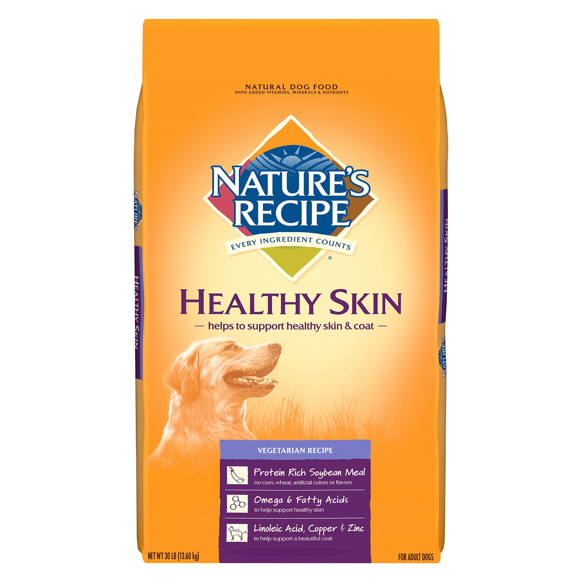 Nature's Recipe Healthy Skin Adult Dog Food size: 30 Lb, Vegetarian, Kibble, Rice