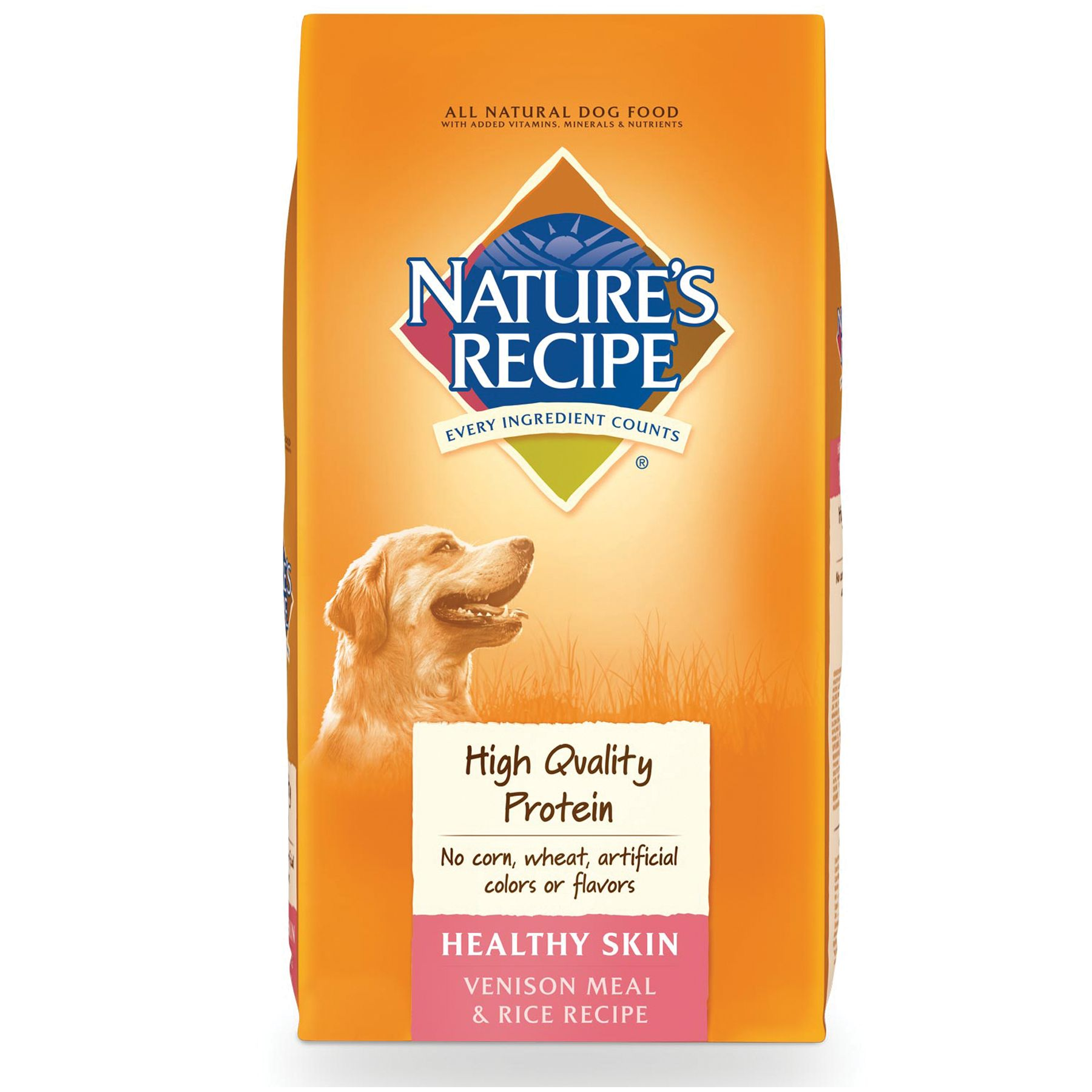 Nature's Recipe Healthy Skin Adult Dog Food size: 30 Lb, Venison Meal and Rice, Kibble