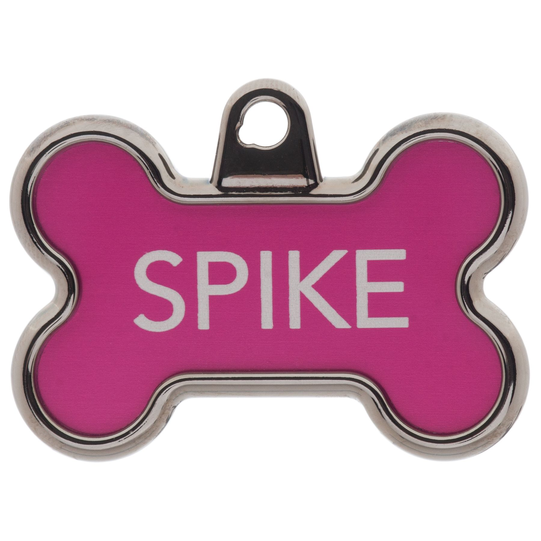 Tagworks Elegance Collection Chrome Bone Personalized Pet Id Tag Size Large Pink