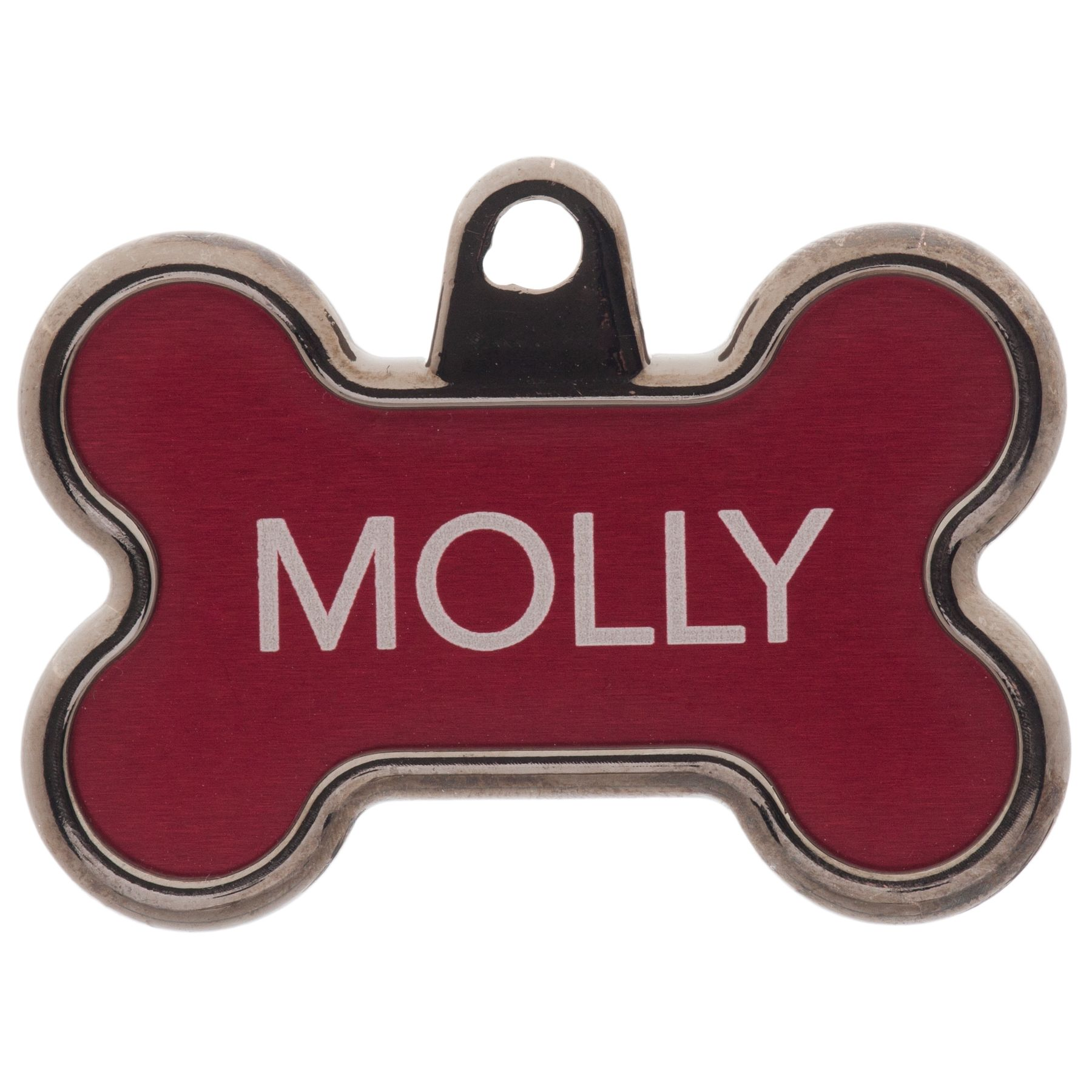 Tagworks Elegance Collection Chrome Bone Personalized Pet Id Tag Size Large Red