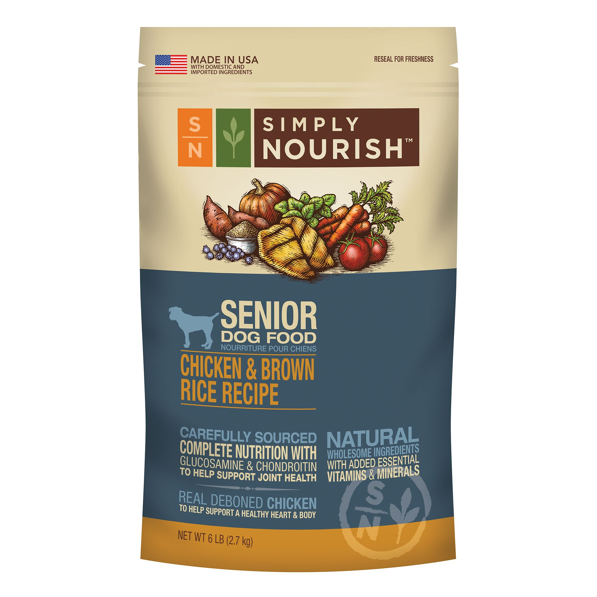 Simply Nourish, Senior Dog Food - Natural, Chicken and Brown Rice size: 6 Lb 5184516