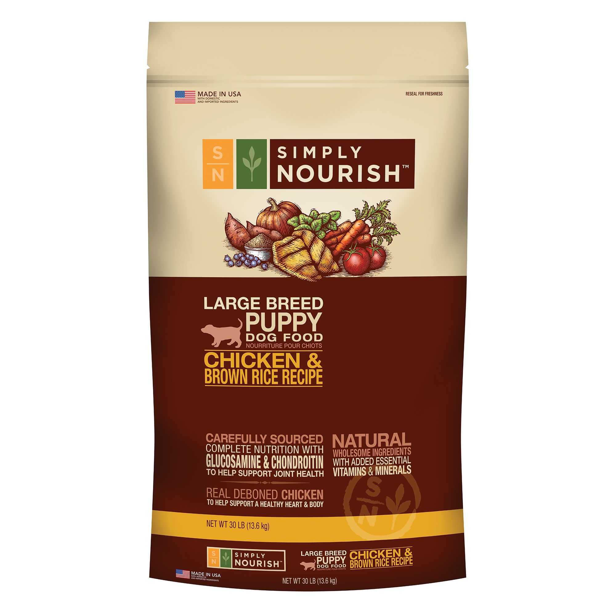 Simply Nourish, Large Breed Puppy Food - Natural, Chicken and Brown Rice size: 30 Lb 5184517