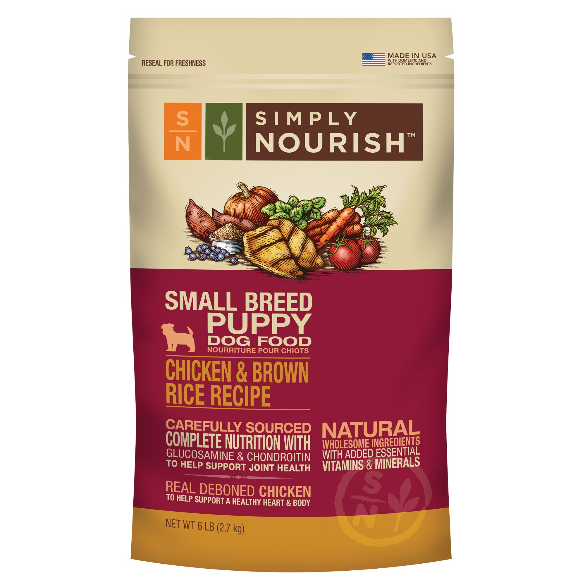Simply Nourish, Small Breed Puppy Food - Natural, Chicken and Brown Rice size: 6 Lb 5184519