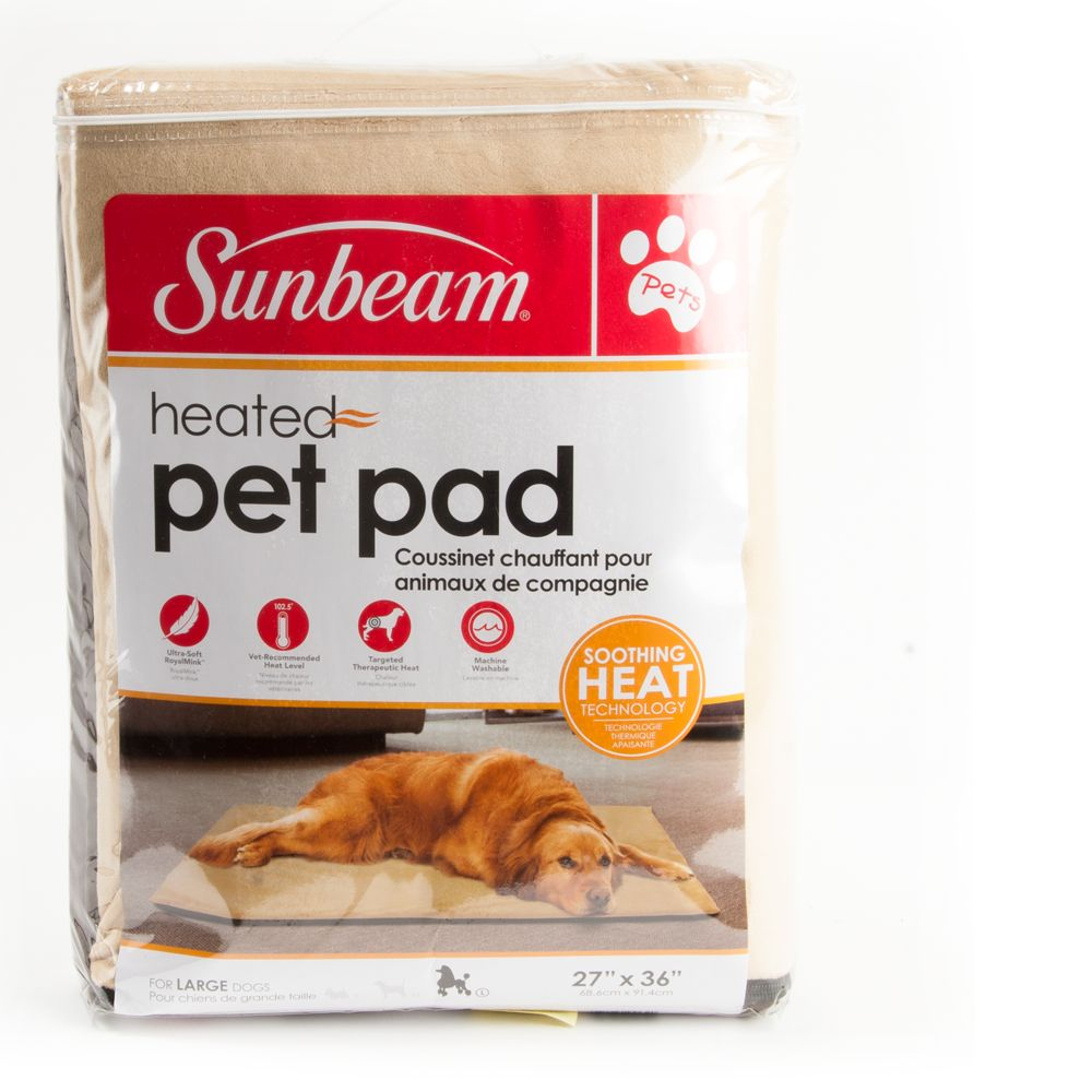 Sunbeam Heating Pet Pad Size 27l X 36w Beige