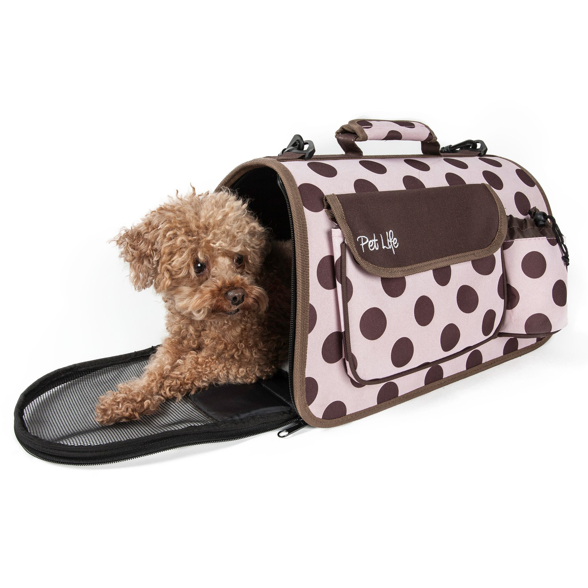 Pet Life Airline Approved Casual Pet Carrier Size 18.1l X 10.1w X 10.5h Pink Brown