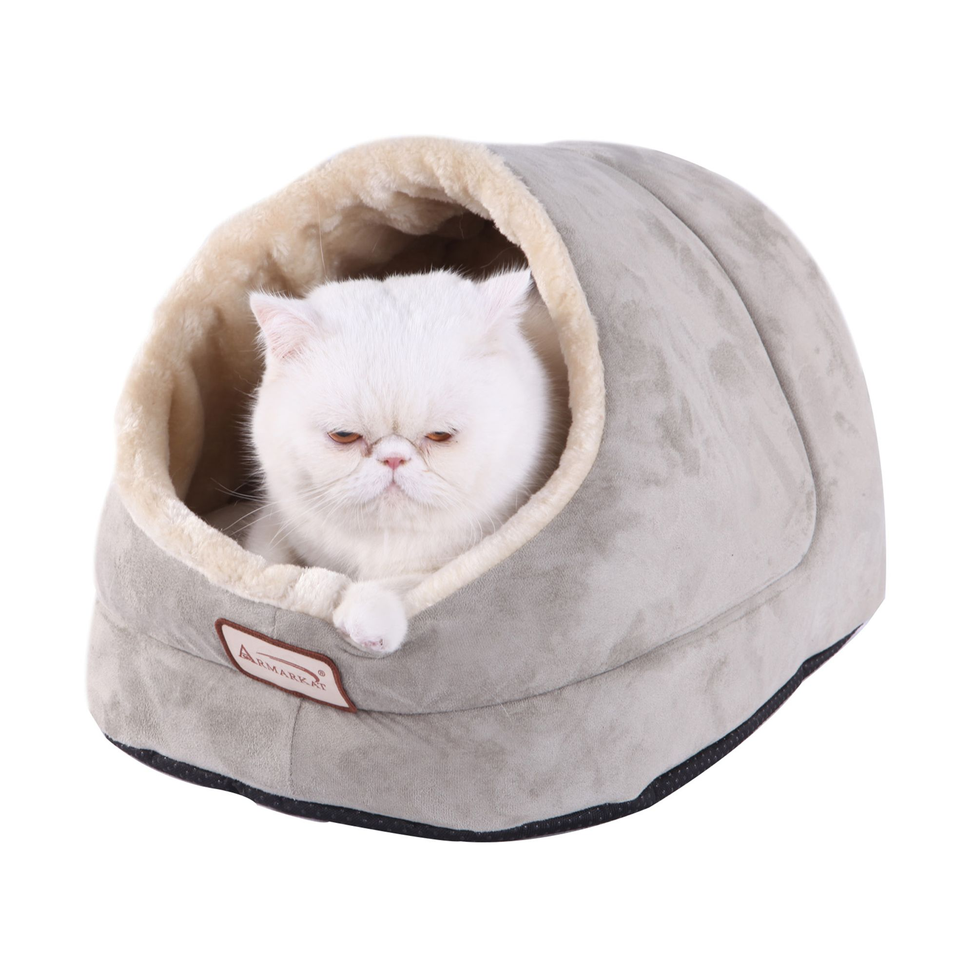 "Armarkat Enclosed Pet Bed size: 18""L x 14""W x 12""H, Sage Green & Beige"