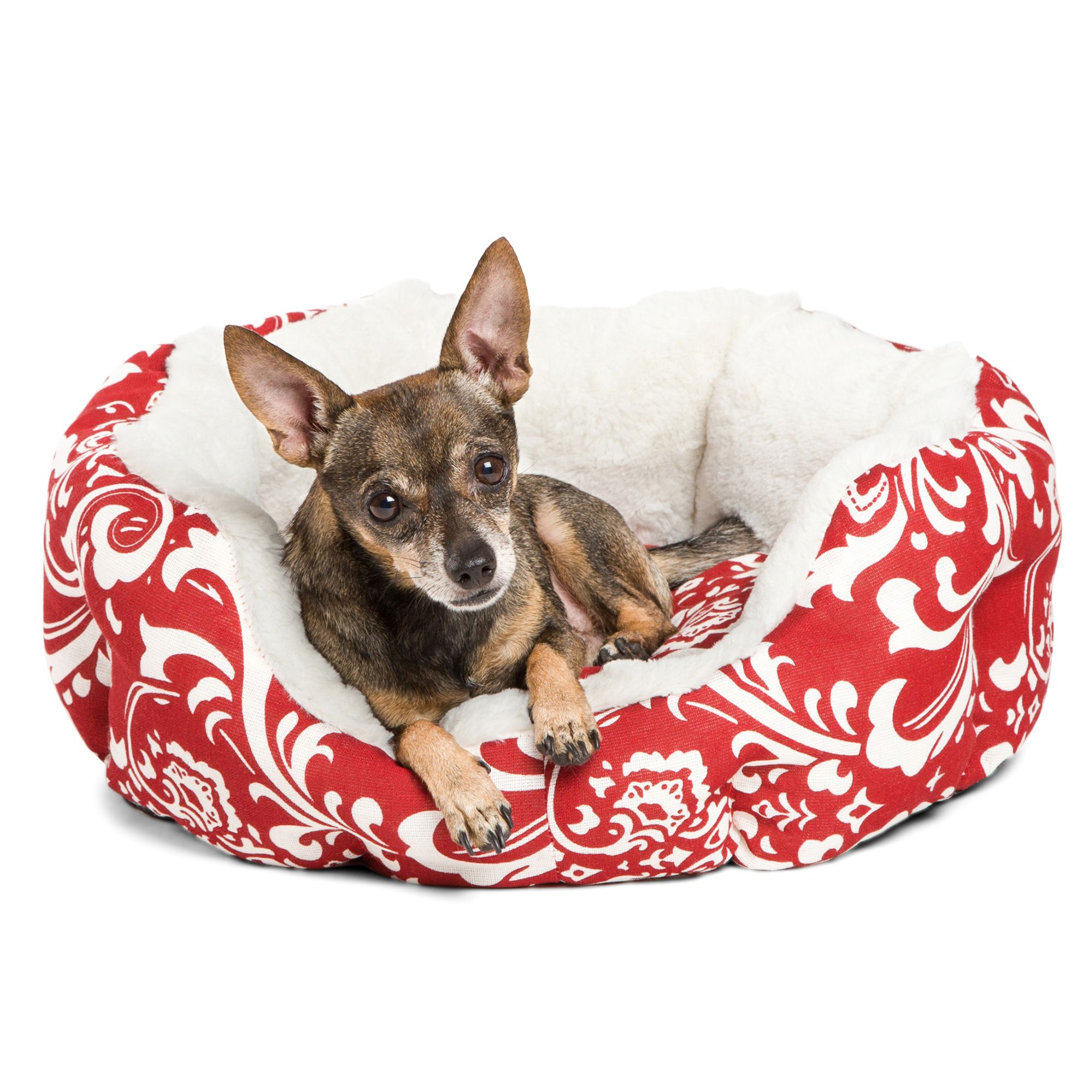 "Best Friends by Sheri Cuddler Pet Bed size: 28""L x 28""W x 8""H, Red 5191425"