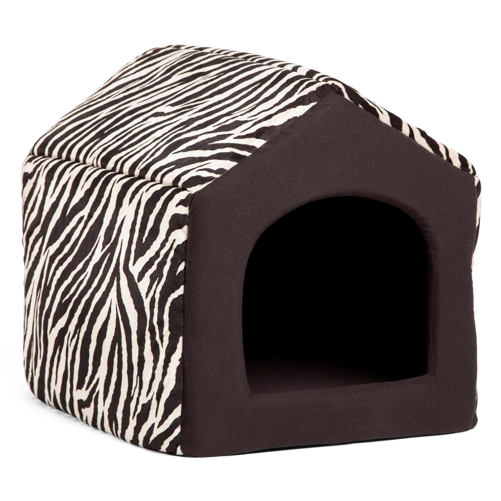 Best Friends By Sheri Convertible House Animal Print Pet Bed Size 16l X 15w X 14h Zebra