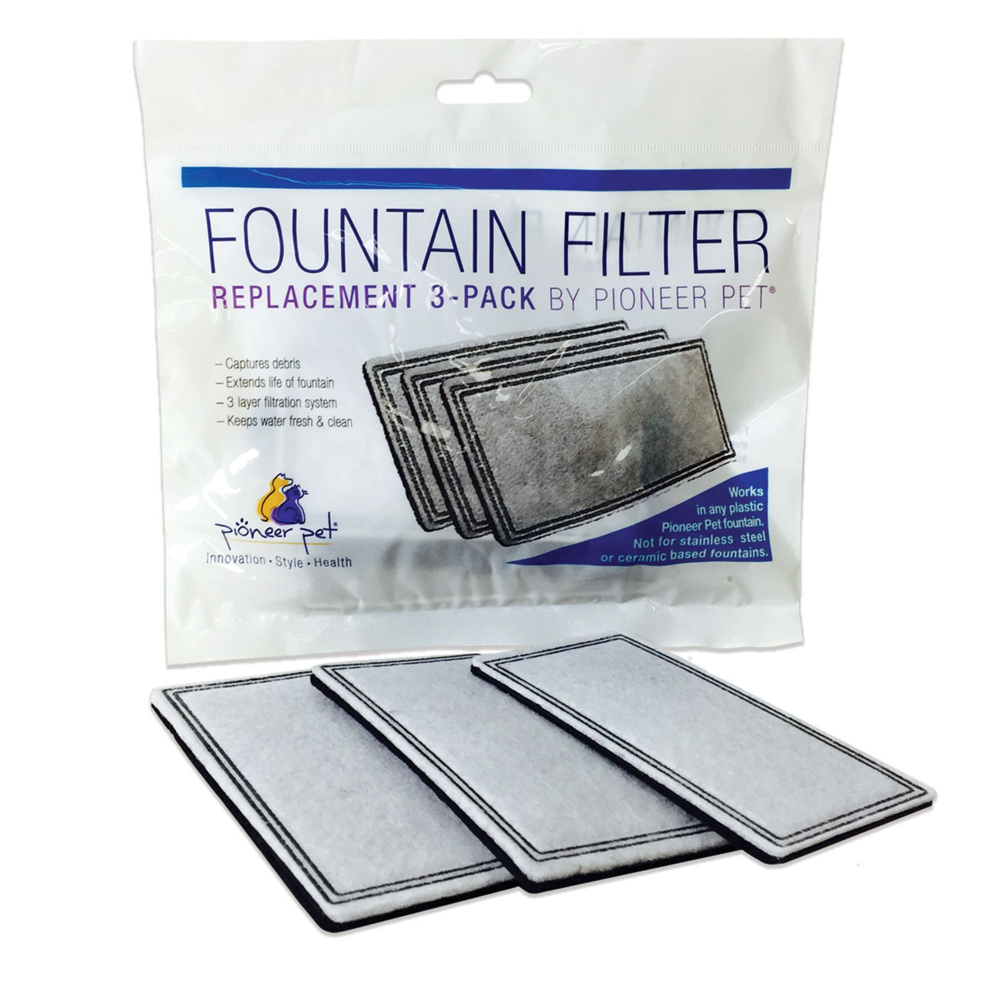 Pioneer Pet Raindrop and Fung Shui Plastic Pet Fountain Replacement Filters - 3 Pack