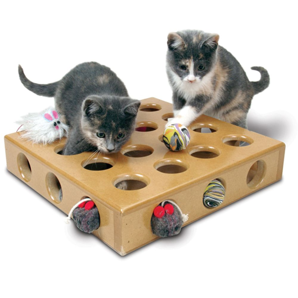 Smartcat Peek A Prize Toy Box Cat Toy Brown