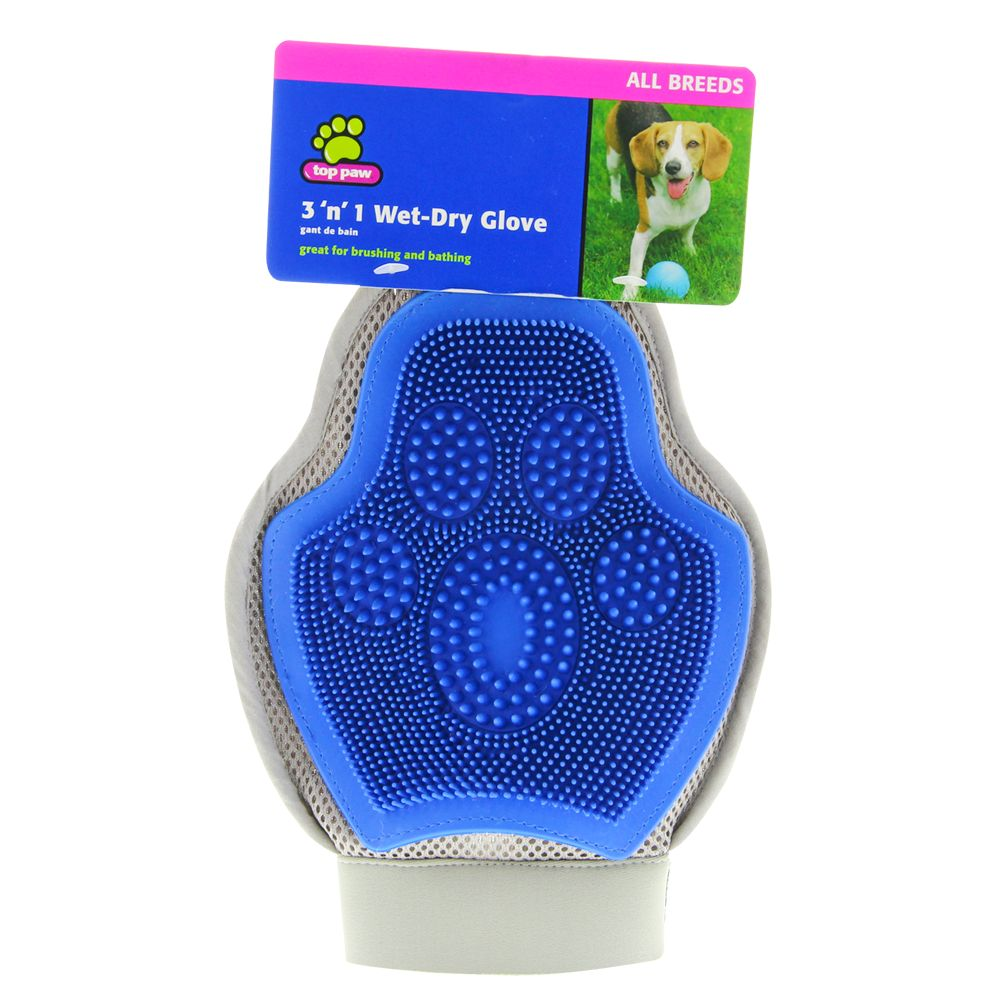 Top Paw 3'n'1 Wet-Dry Glove Dog Brush size: Small/Medium/Large, Blue 5196387