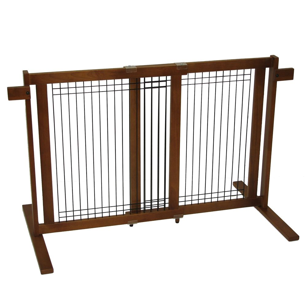 Crown Pet Freestanding Gate With Security Arms Size 27.6w X 29.4h Brown