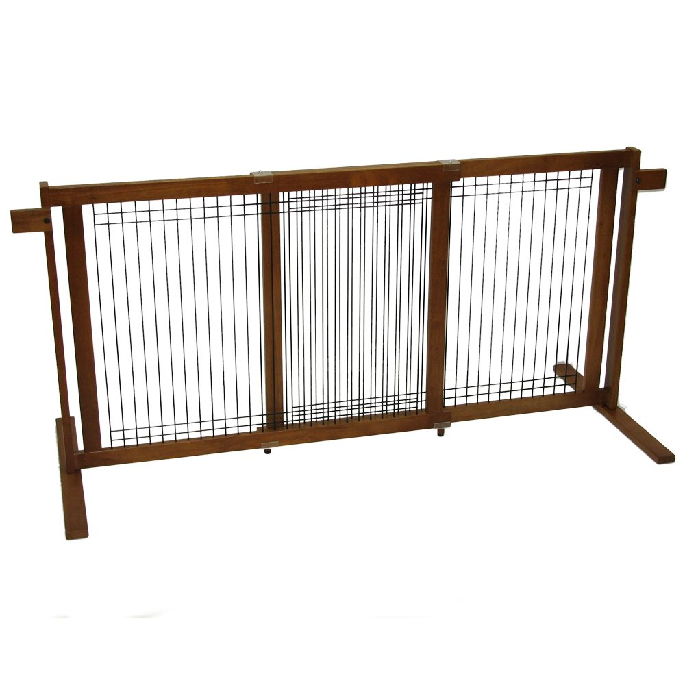 Crown Pet Freestanding Gate With Security Arms Size 40.6w X 29.4h Brown