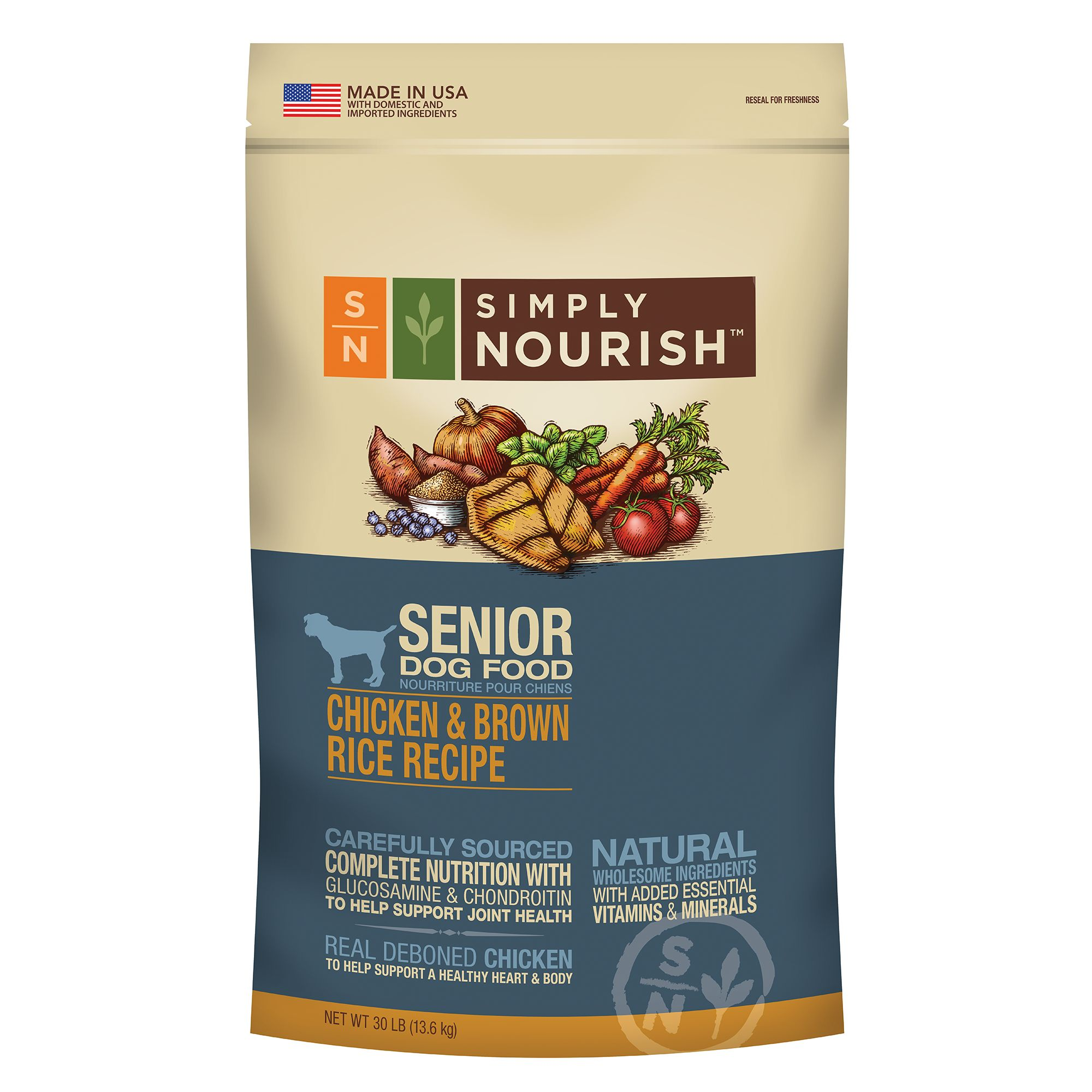 Simply Nourish, Senior Dog Food - Natural, Chicken and Brown Rice size: 30 Lb 5197936