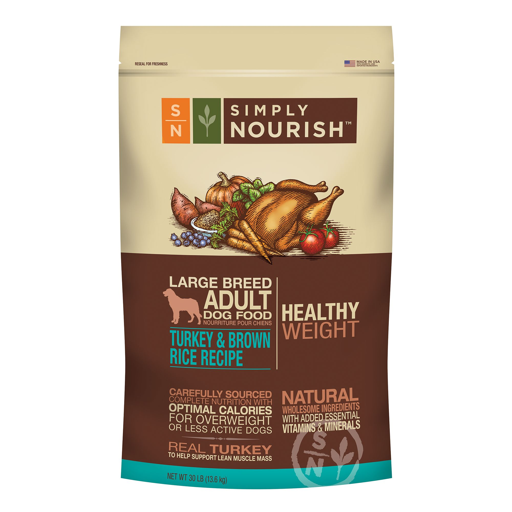 Simply Nourish Healthy Weight Large Breed Adult Dog Food - Natural, Turkey and Brown Rice size: 30 Lb 5197937