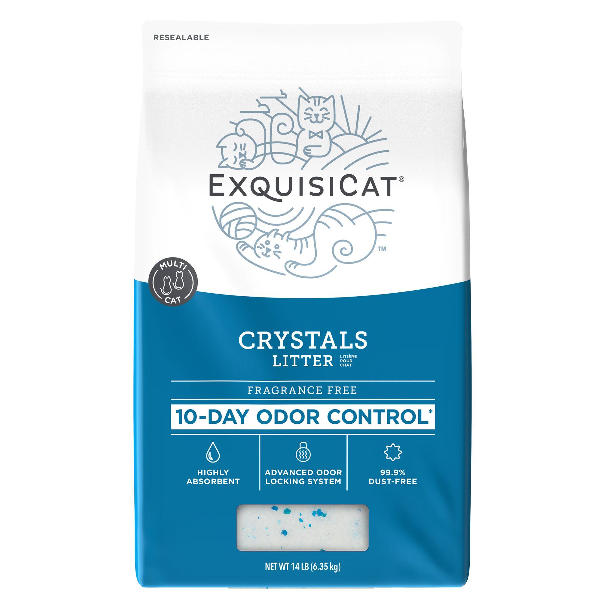 Exquisicat Crystals Low Dust Formula Fragrance Free Cat Litter Size 14 Lb