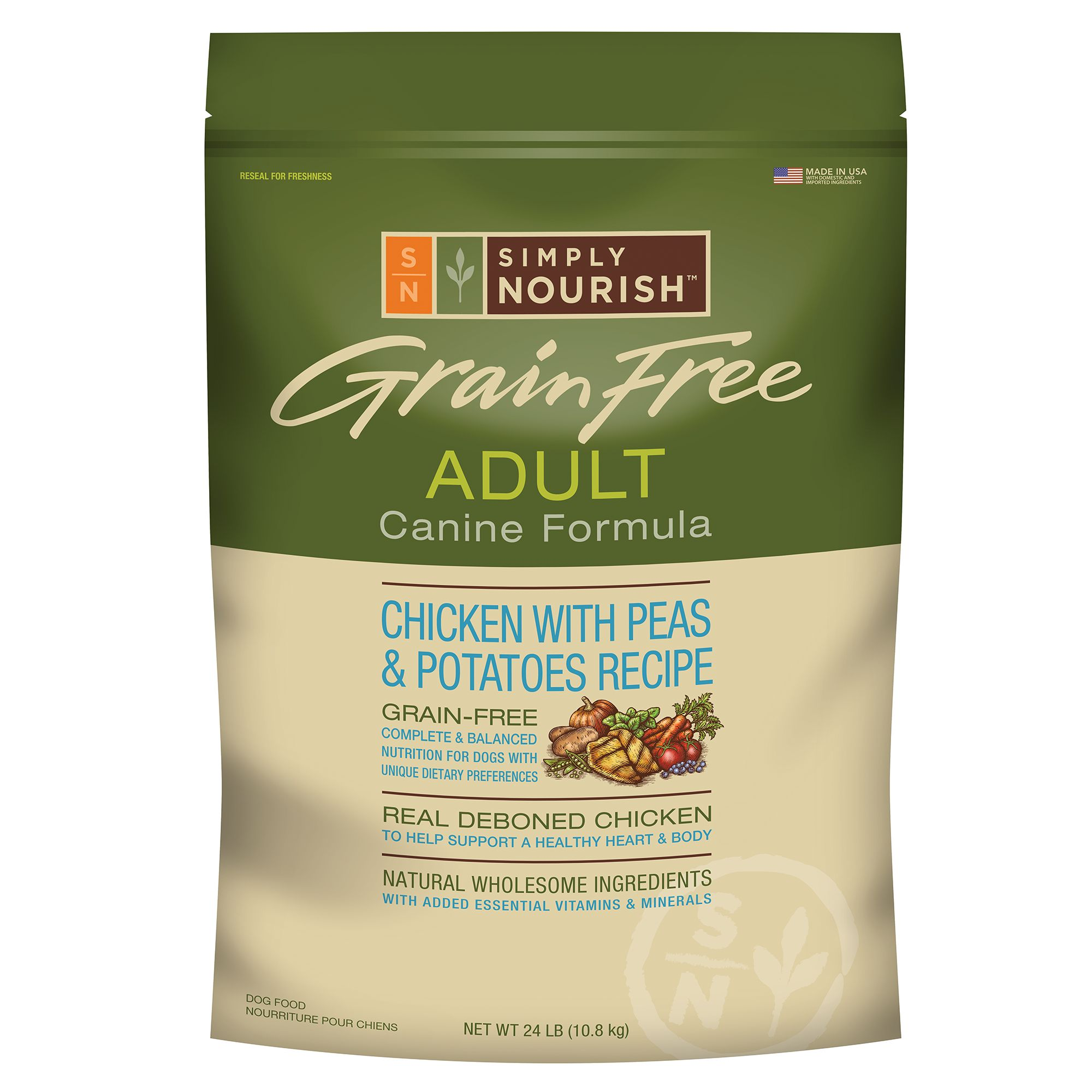 Simply Nourish Adult Dog Food Grain Free Natural Chicken With Peas And Potatoes Size 24 Lb