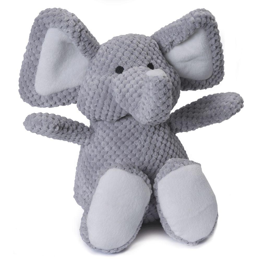 Godog Checkers Elephant Squeaker Dog Toy Size Large Grey