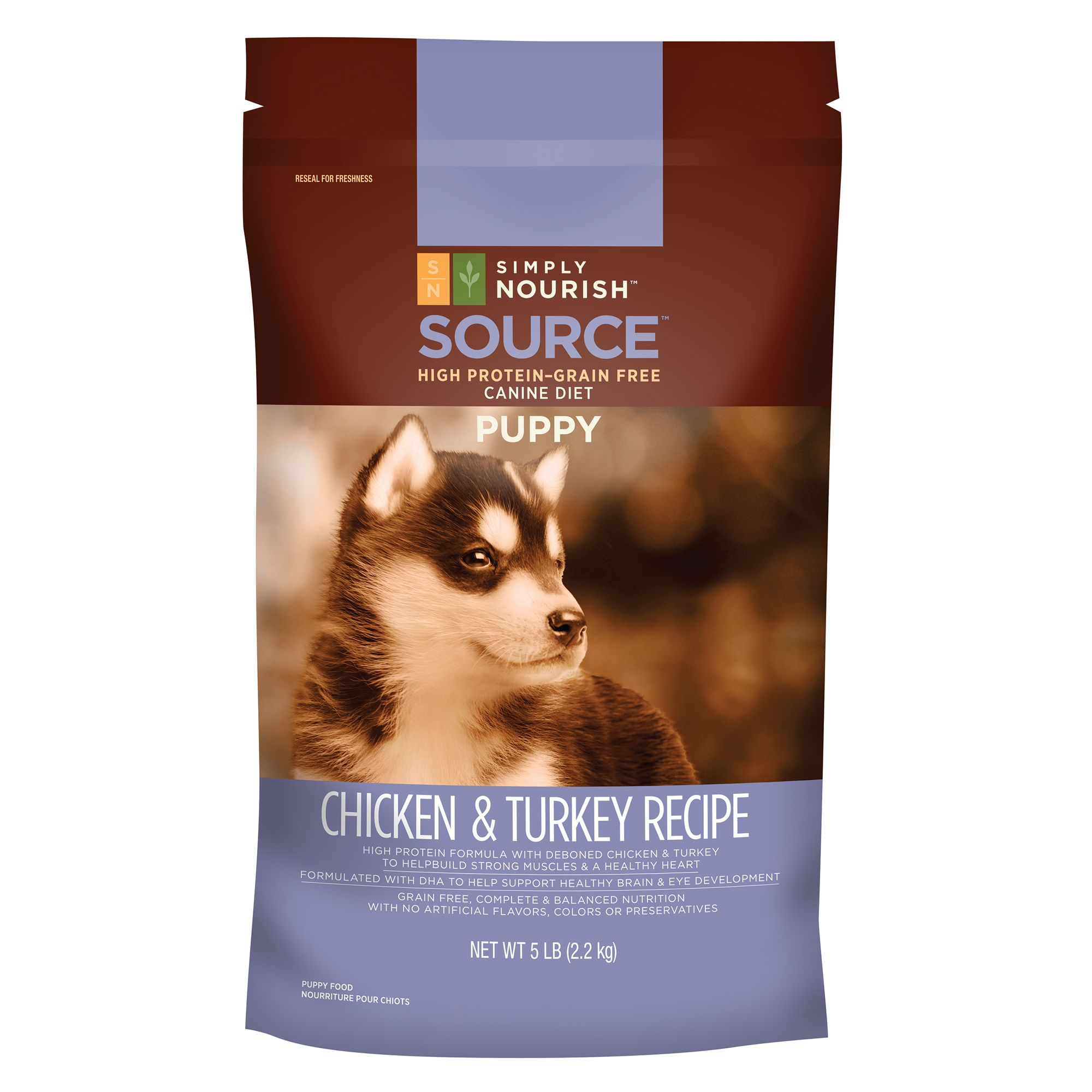 Simply Nourish® Source Puppy Food - Grain Free, High Protein, Chicken and Turkey size: 5 Lb 5200812